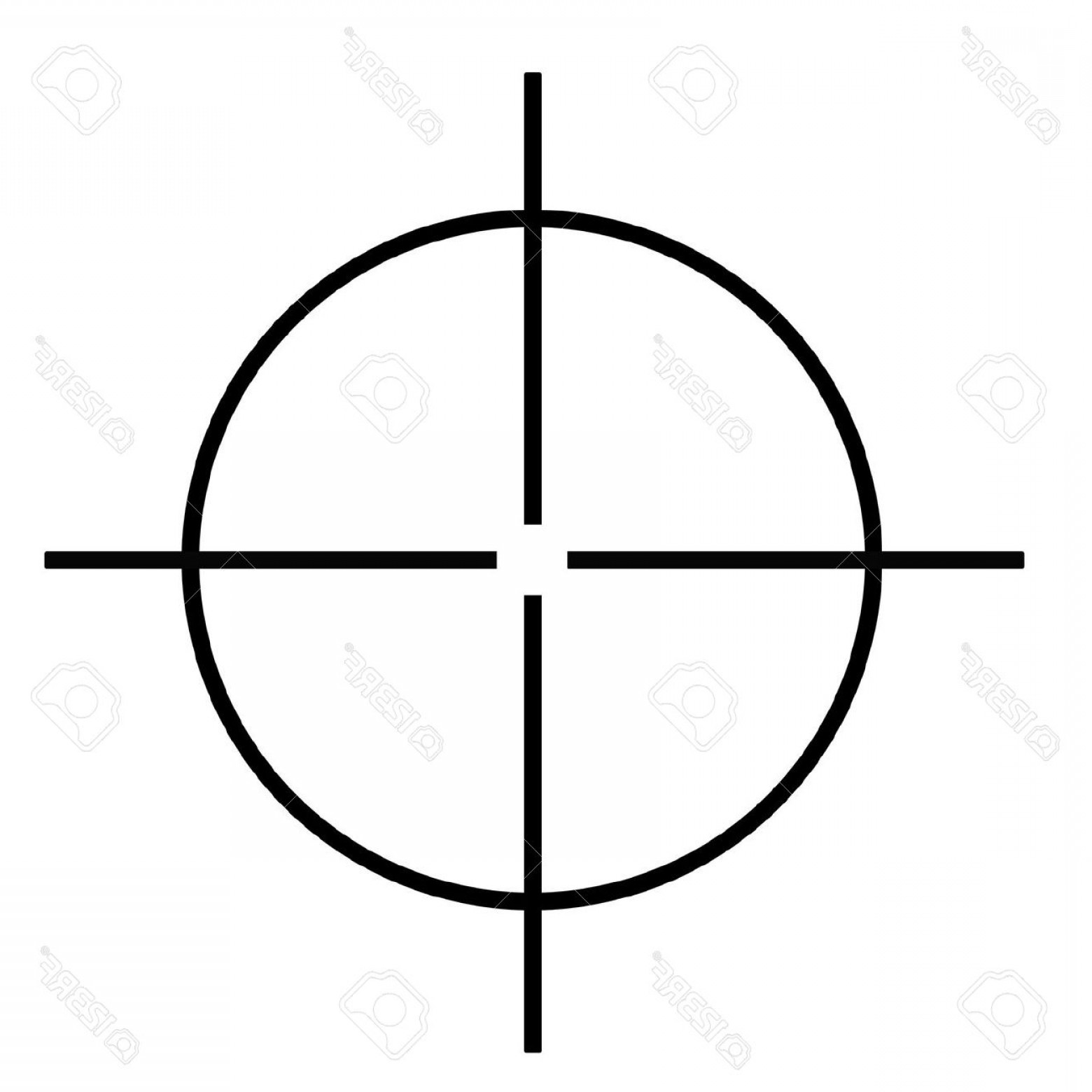 Hunting Rifle Vector Cross: Photosniper Rifle Cross Hairs Isolated On White Background
