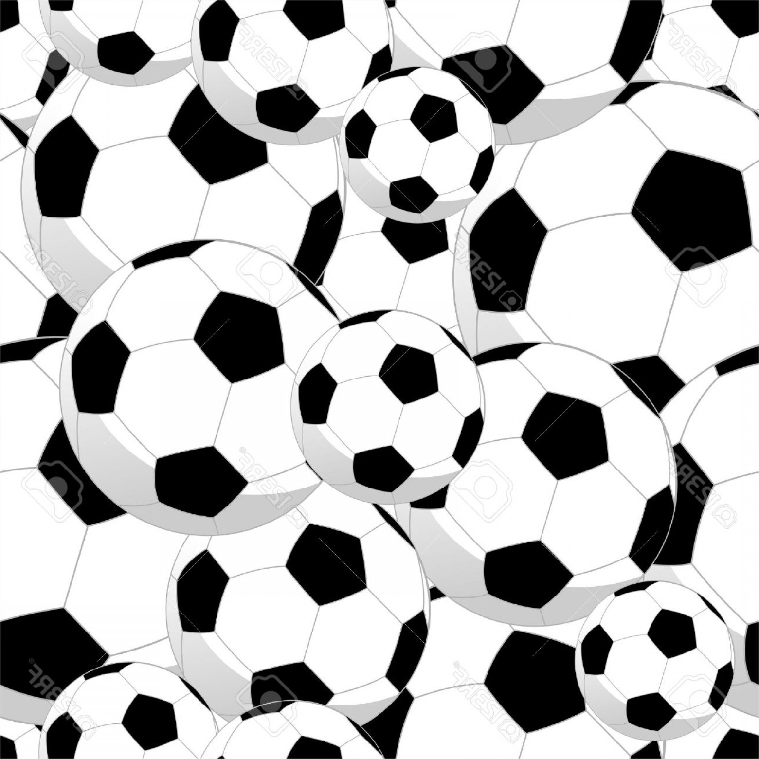 Vector Soccer Ball Pattern: Photosoccer Balls Sport Seamless Pattern Background Vector File Layered For Easy Manipulation And Custom