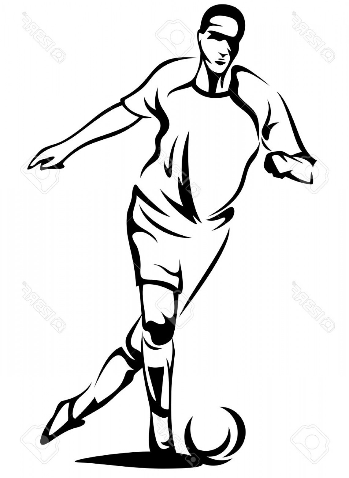 Abstract Football Vector Outline: Photosoccer Player Monochrome Vector Outline Black Over White