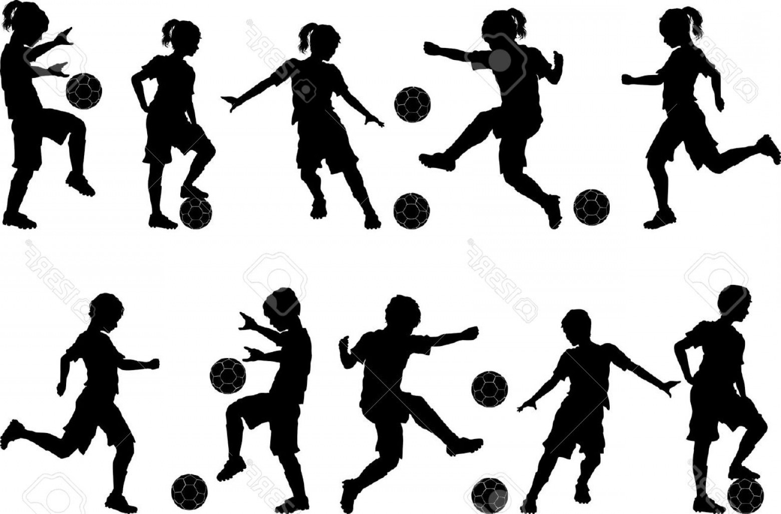 Vector Football Girl: Photosoccer Players Silhouettes Of Kids Boys And Girls