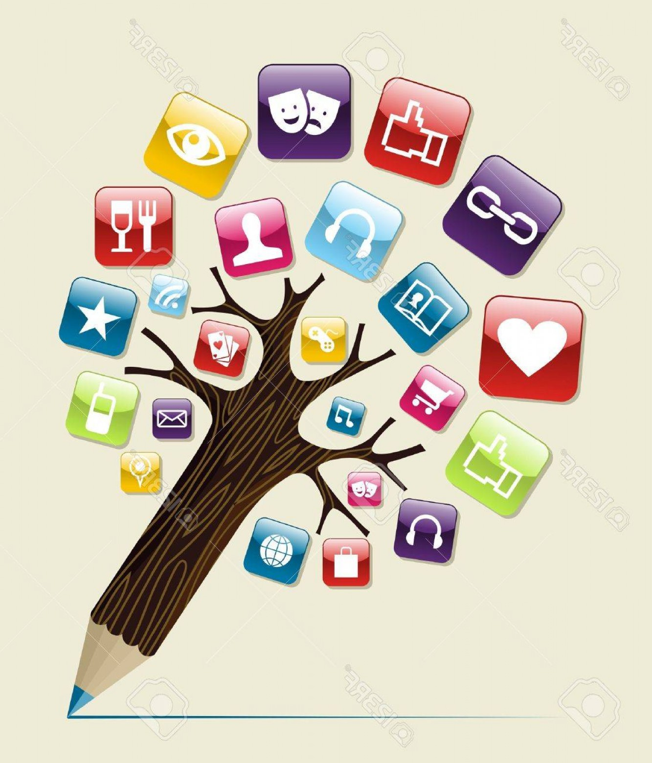 Pencil Icon Vectors Social Media: Photosocial Media Glossy Icons Buttons Concept Pencil Tree Vector Illustration Layered For Easy Manipulat