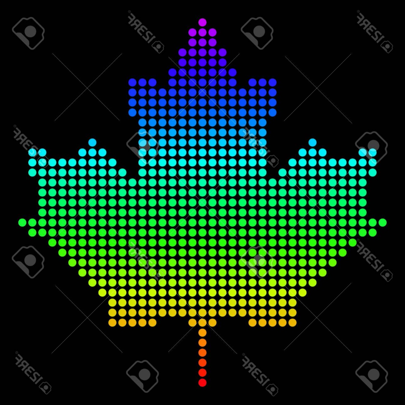 Geographic Leaf Vector: Photospectrum Dotted Pixelated Maple Leaf Vector Geographic Map In Bright Colors On A Black Background Mu