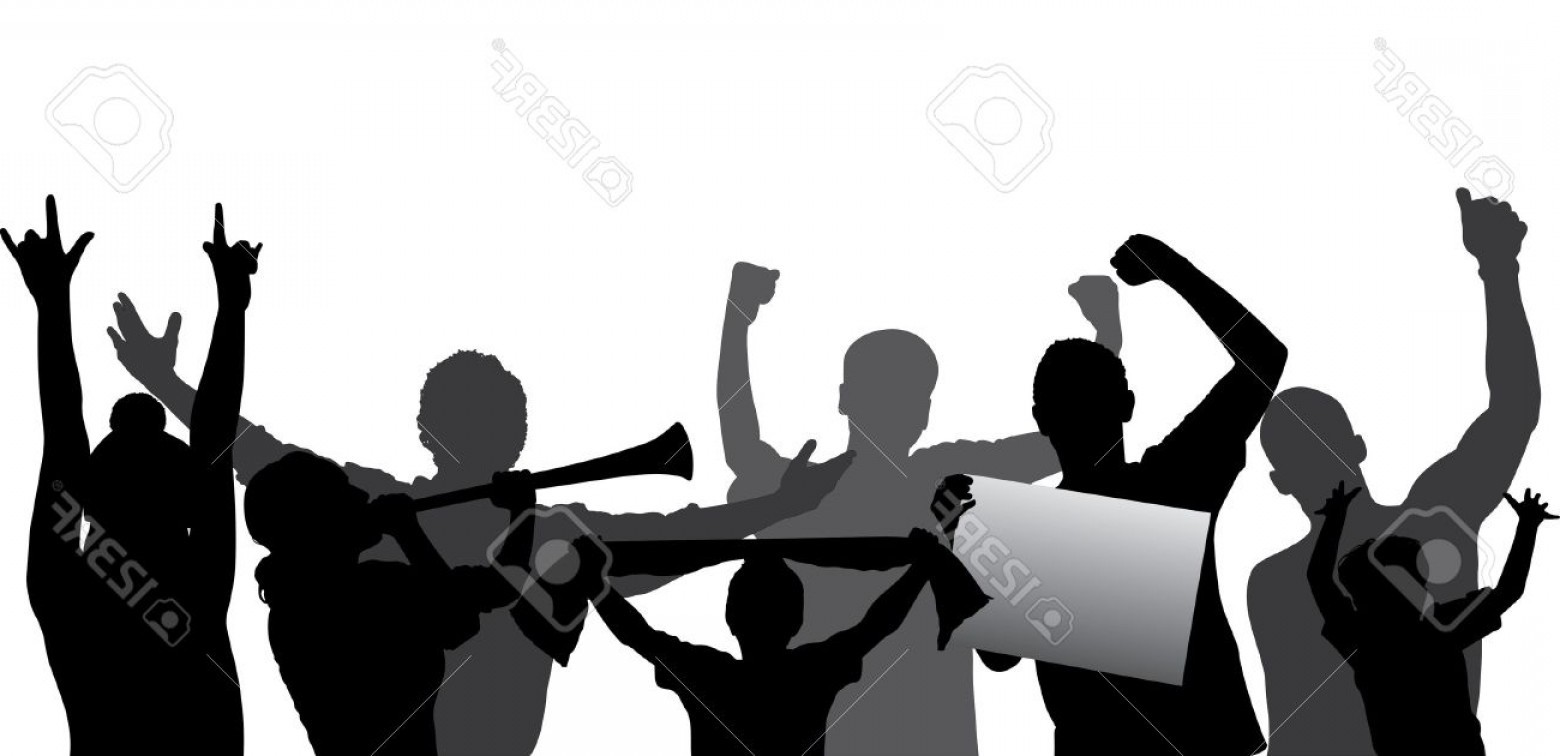 Vector Sports Crowd Cheering: Photosports Fans Cheering Crowd Silhouette Layered Every Figure On A Separate Layer Editable