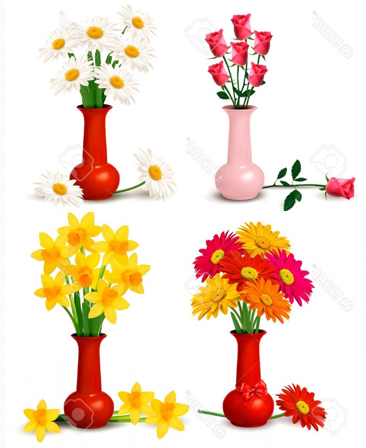 Vector Art Flowers In Vace: Photospring And Summer Colorful Flowers In Vases