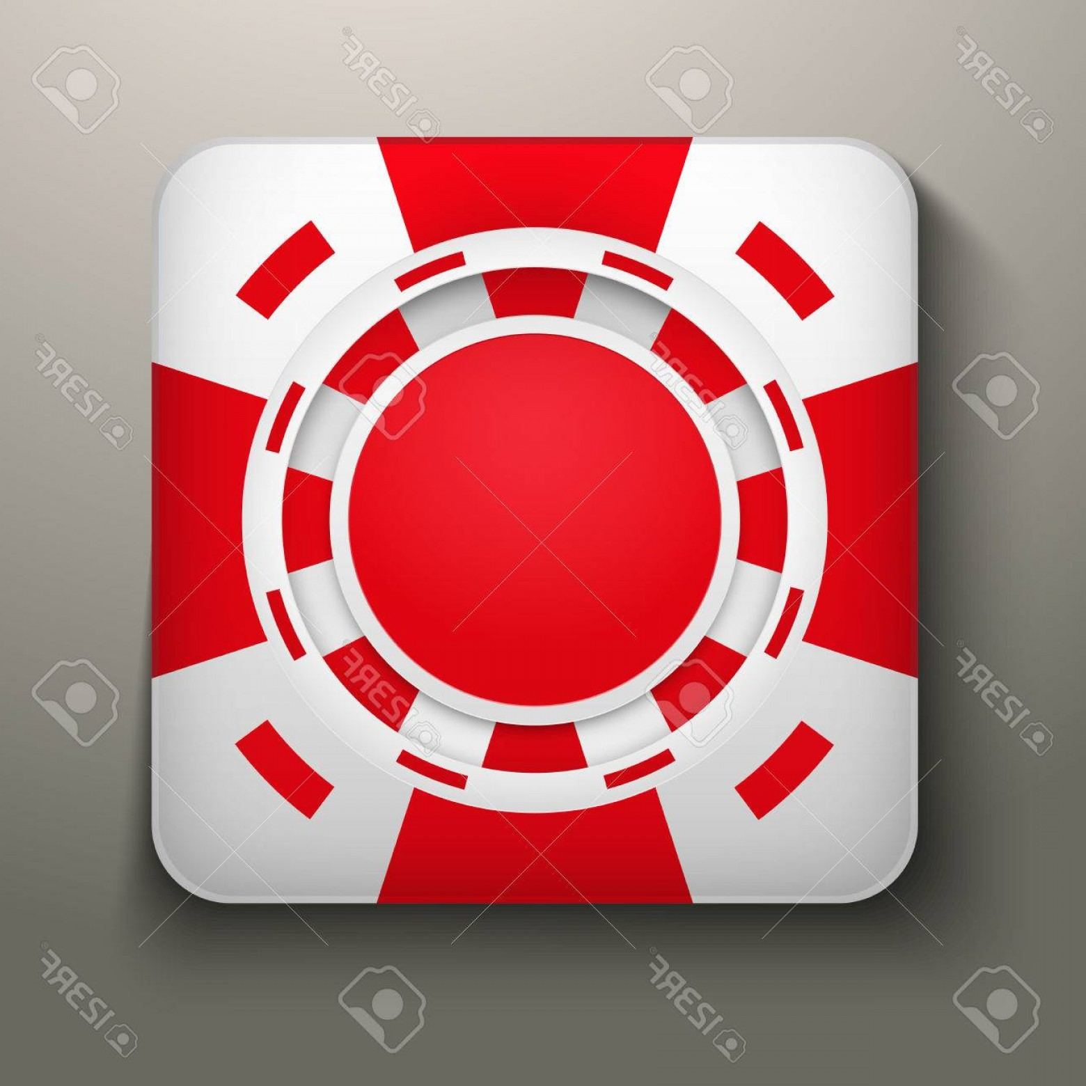 Editable Vector Poker Chips: Photosquare Icon Red Casino Chips Bright Symbols Of Gambling Vector Illustration Editable And Isolated
