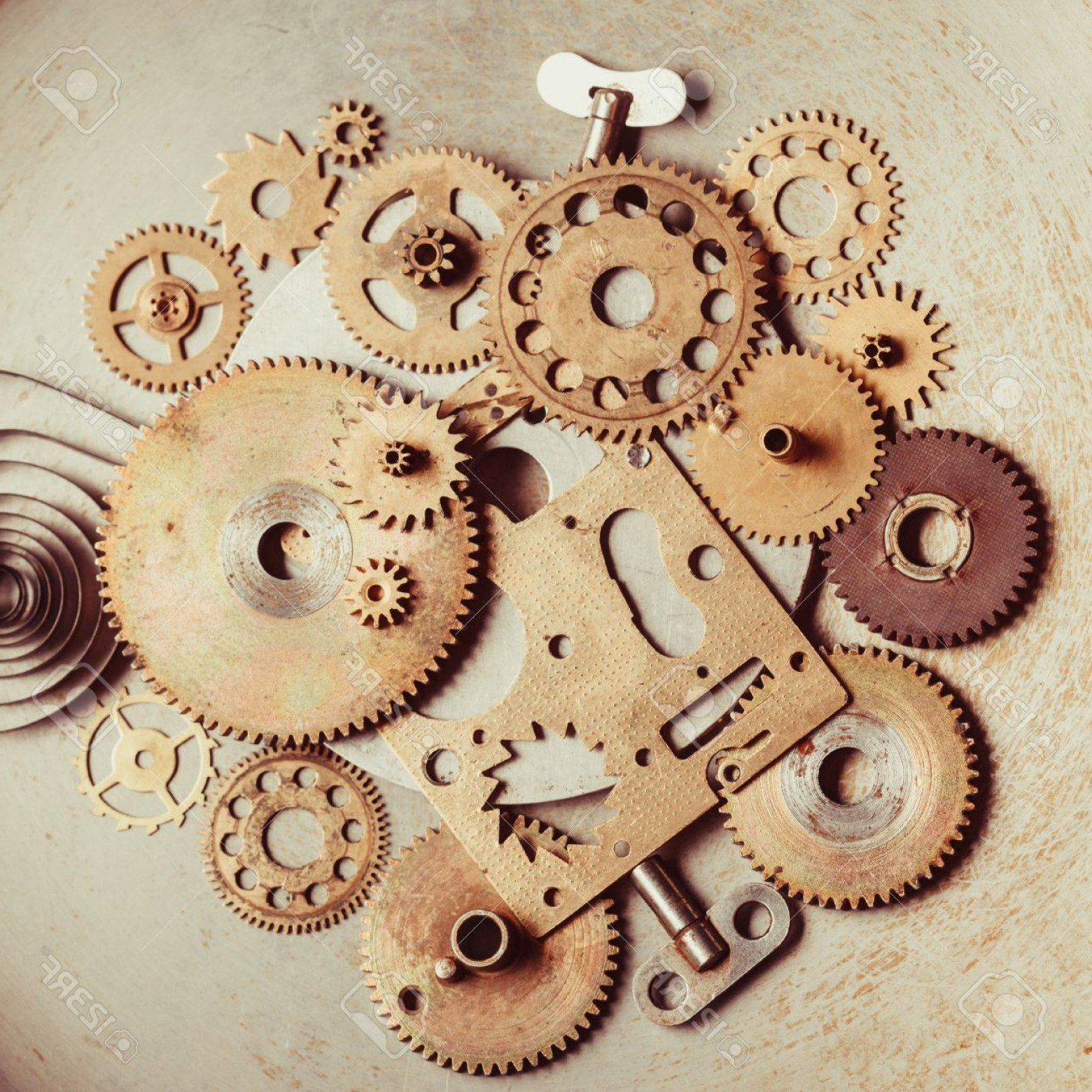 Vector Mechanical Clock Wheels: Photosteampunk Background From Mechanical Clocks Details Over Old Metal Background Inside The Clock Gears