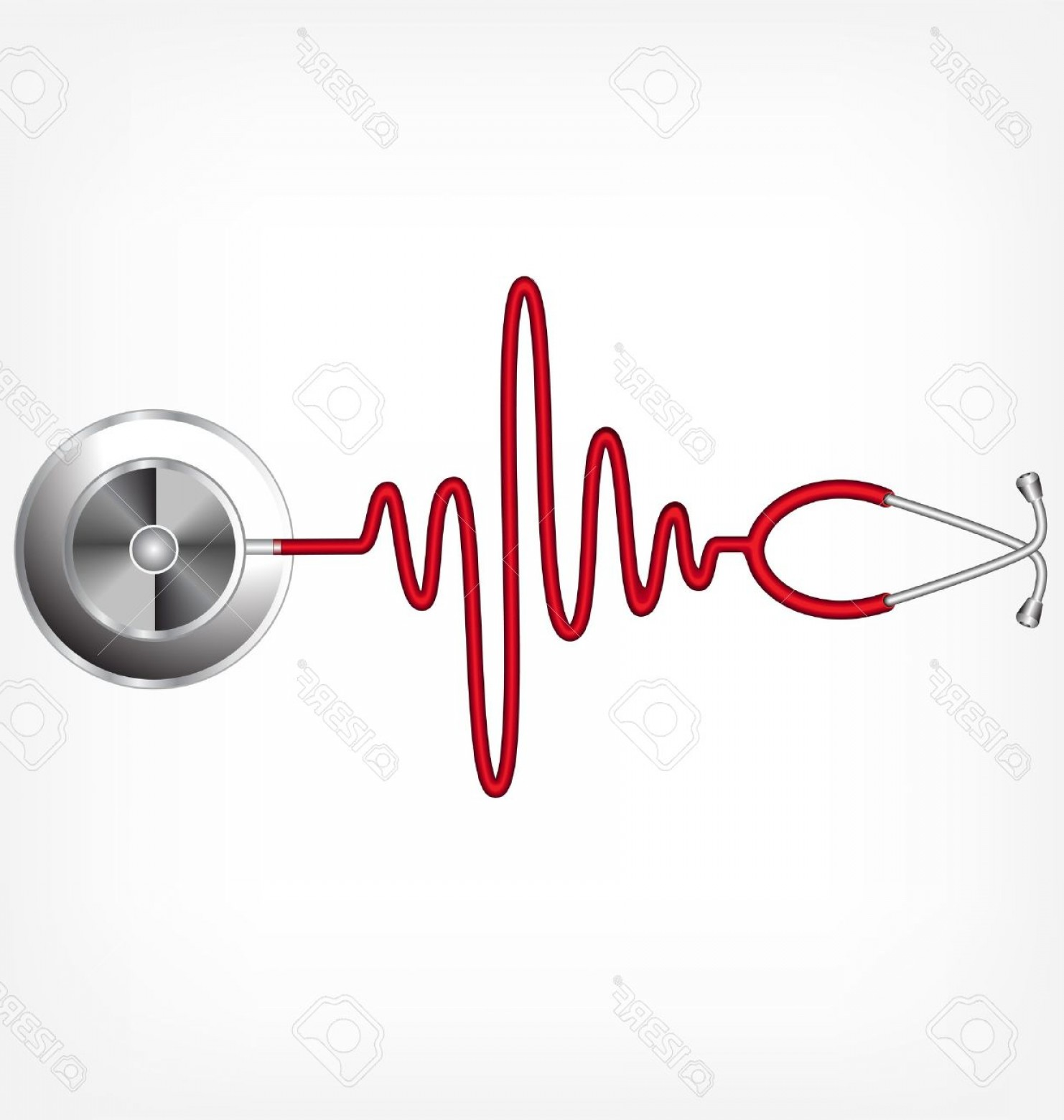 Heart Stethoscope With EKG Lines Vector: Photostethoscope And A Silhouette Of The Ecg