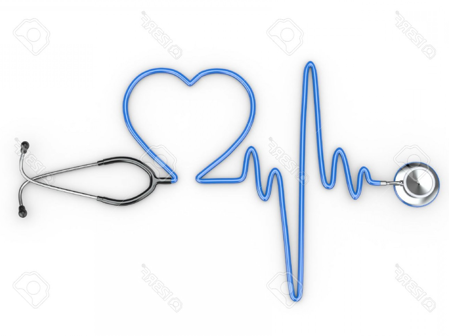 Heart Stethoscope With EKG Lines Vector: Photostethoscope And A Silhouette Of The Heart And Ecg D