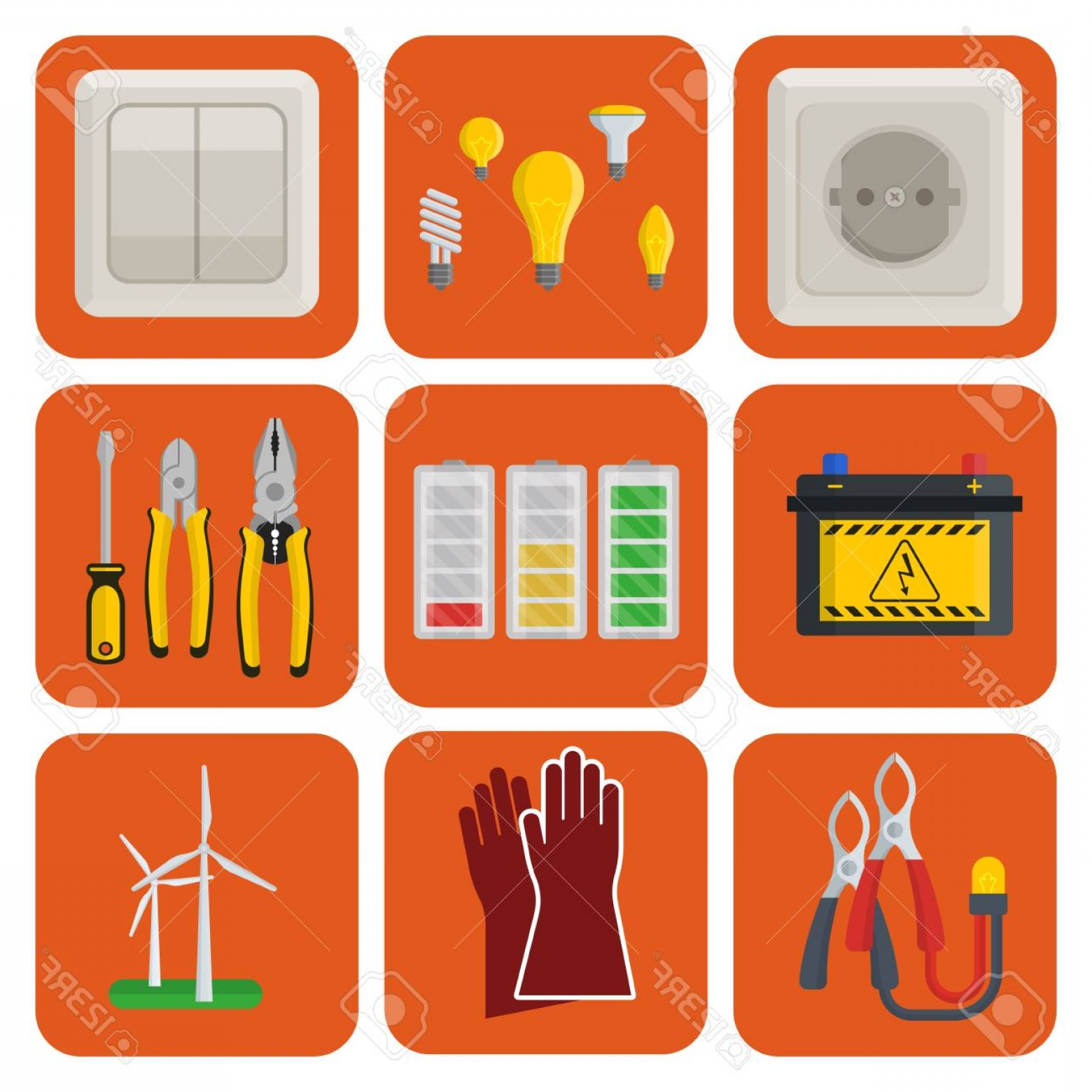 Battery Electricity Vector Images: Photostock Illustration Energy Electricity Vector Power Icons Battery Illustration Industrial Electrician Voltage Electricit