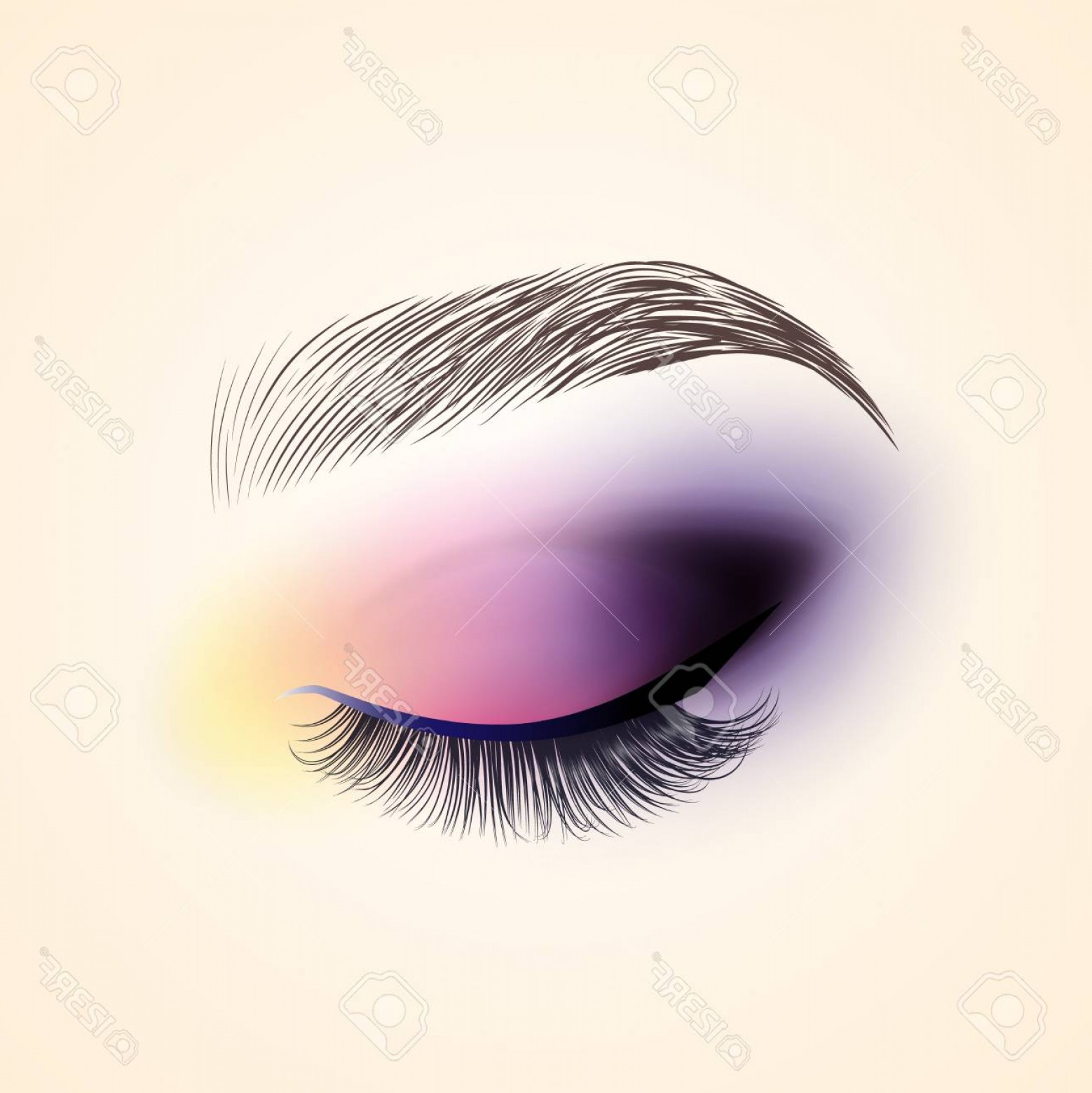 Vector Illustration Eyes Makeup: Photostock Illustration Eye Makeup Closed Eye With Long Eyelashes Vector Illustration