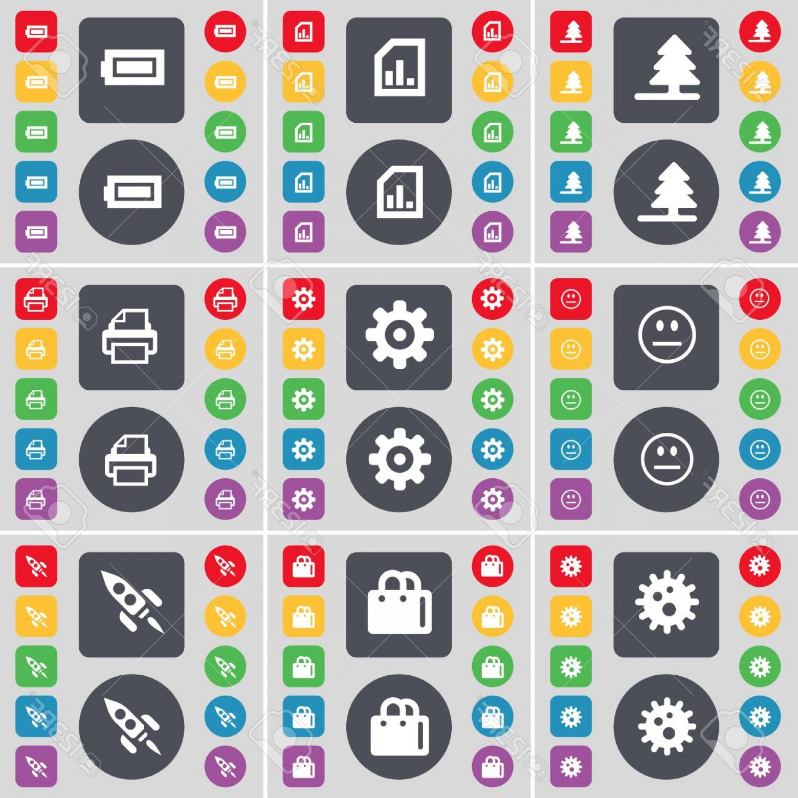 Gear Vector Icons Large: Photostock Illustration Firtree Diagram File Battery Smile Gear Printer Gear Shopping Bag Rocket Icon Symbol A Large Set Of