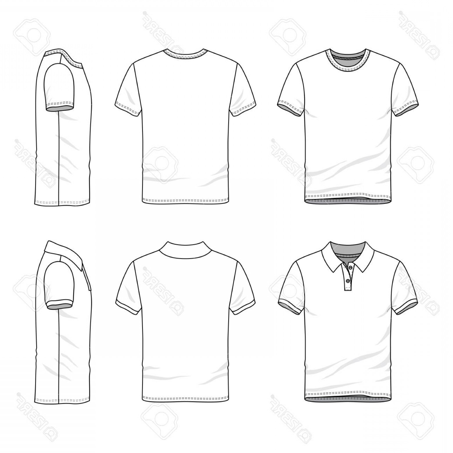 Sweatshirt Vector Template: Photostock Illustration Male Clothing Set Blank Vector Templates Of White T Shirt And Polo Shirt Fashion Illustration Line A