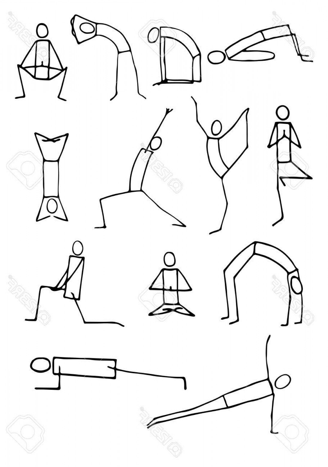 Vector Stick Figure Yoga Positions: Photostock Illustration Set Of Hand Drawn Stickman Yoga Poses Isolated On White Background Vector Illustration