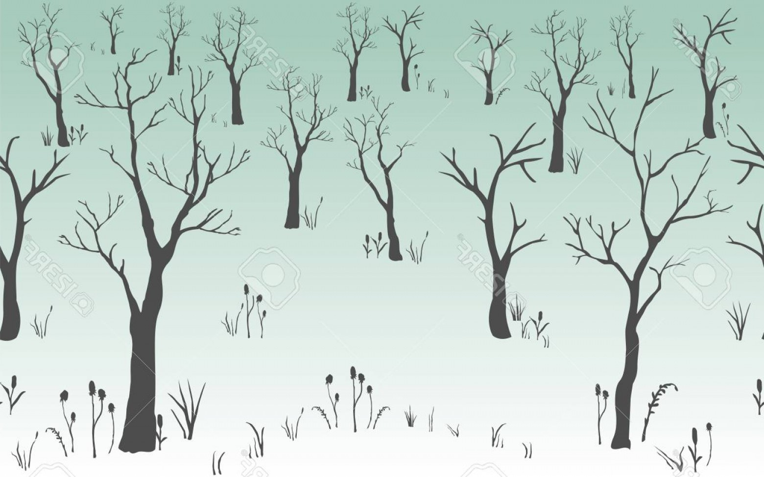 Continuous Tree Branch Vector Image: Photostock Illustration Trees With No Leaves Continuous Pattern Partly Seamless Vector Illustration