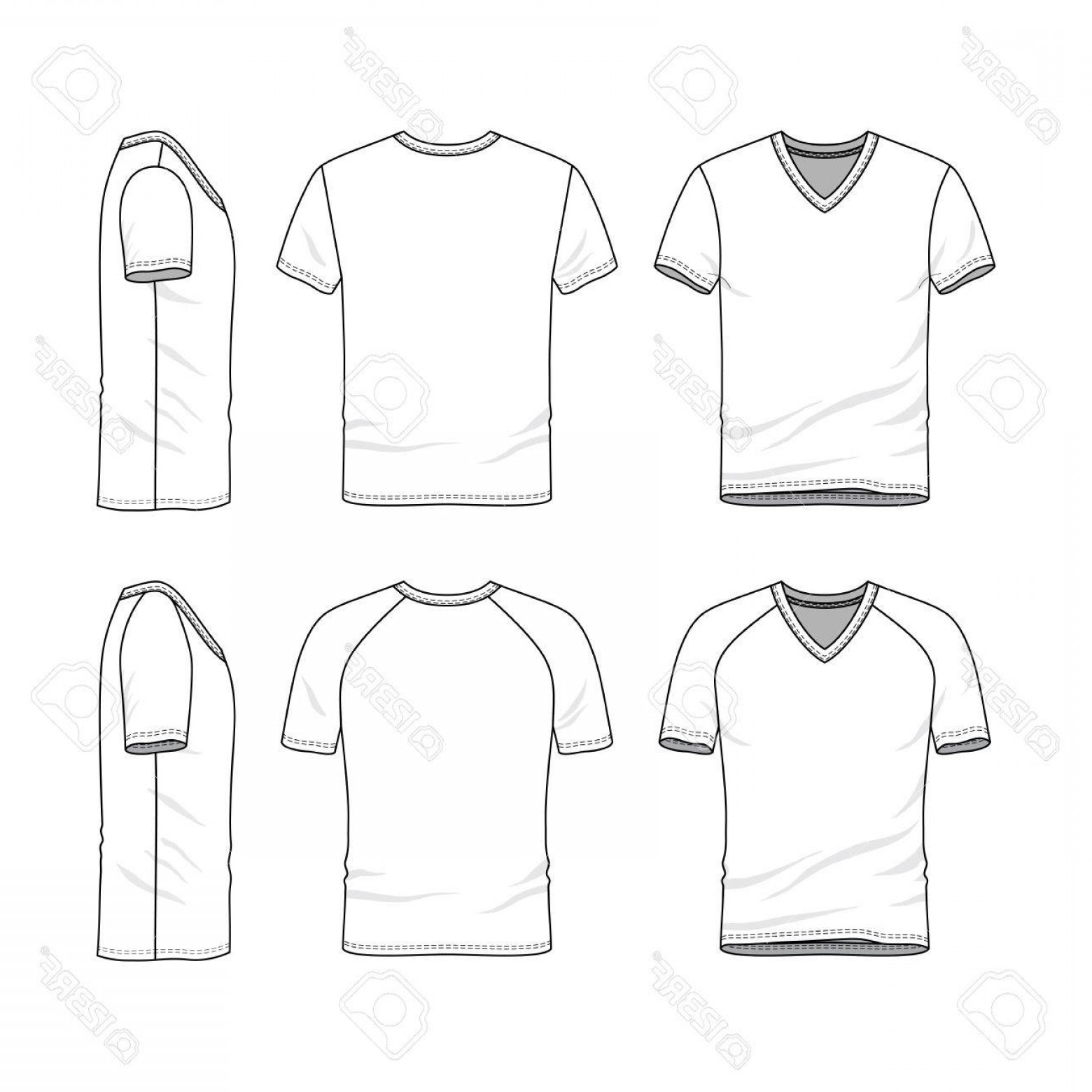 beb6815ab62e Photostock Illustration Vector Templates Of Clothing Set Front Back Side  Views Of Blank V Neck T Shirt Sportswear Uniform Cl