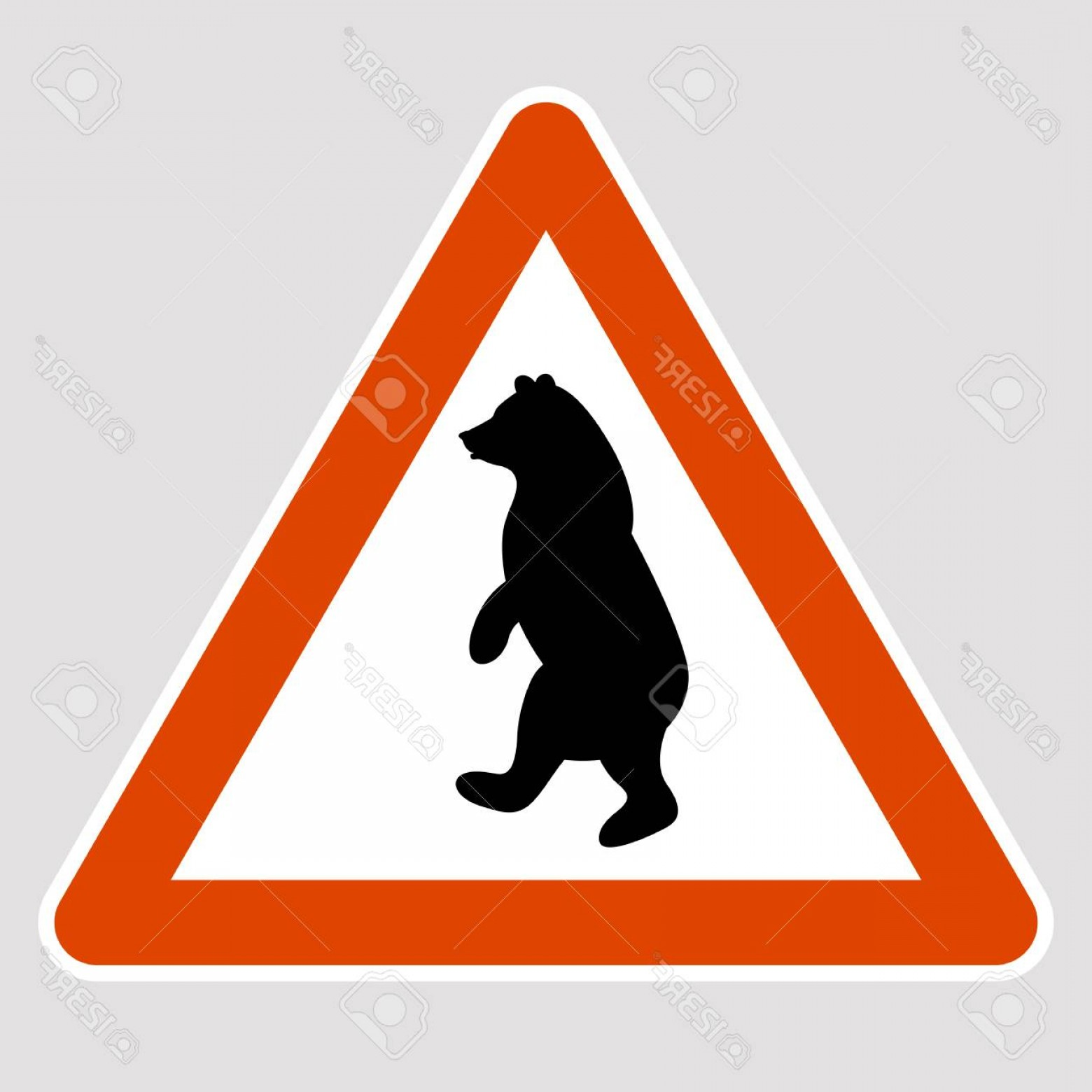 Road Sign Silhouette Vector Bear: Photostock Vector A Bear Black Silhouette Road Sign Vector Illustration Profile