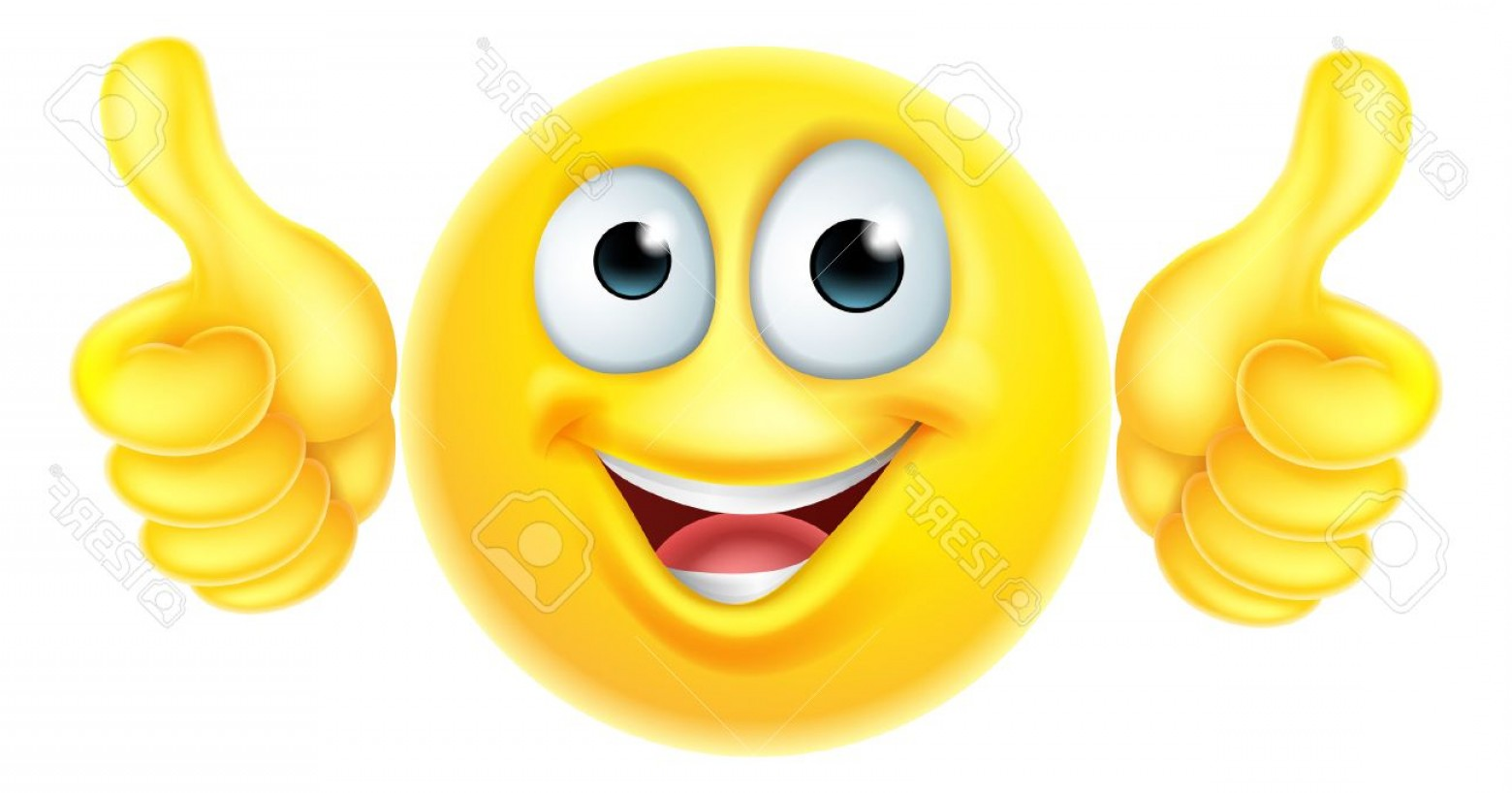 Excited Face Emoji Vector: Photostock Vector A Cartoon Emoji Emoticon Icon Character Looking Very Happy With His Thumbs Up He Likes It