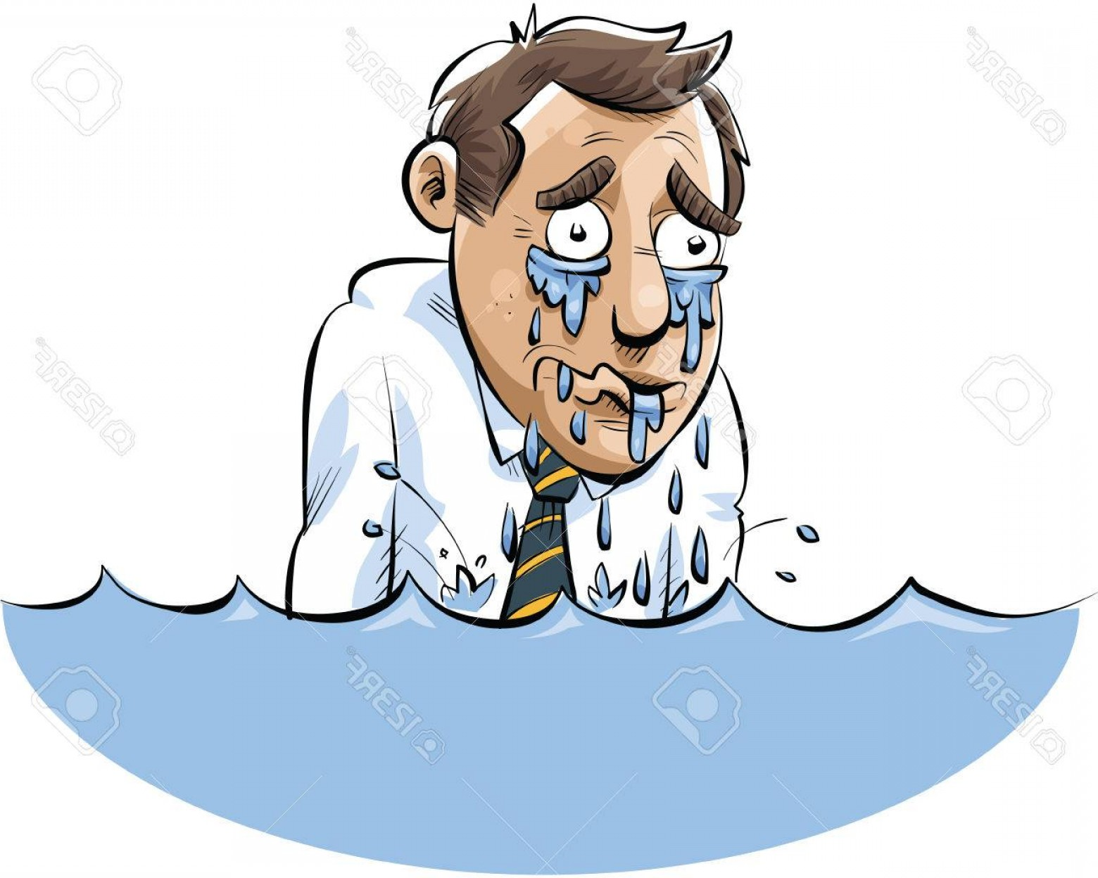 Man Drowning Vector: Photostock Vector A Cartoon Man Drowning In A Lake Of His Own Tears