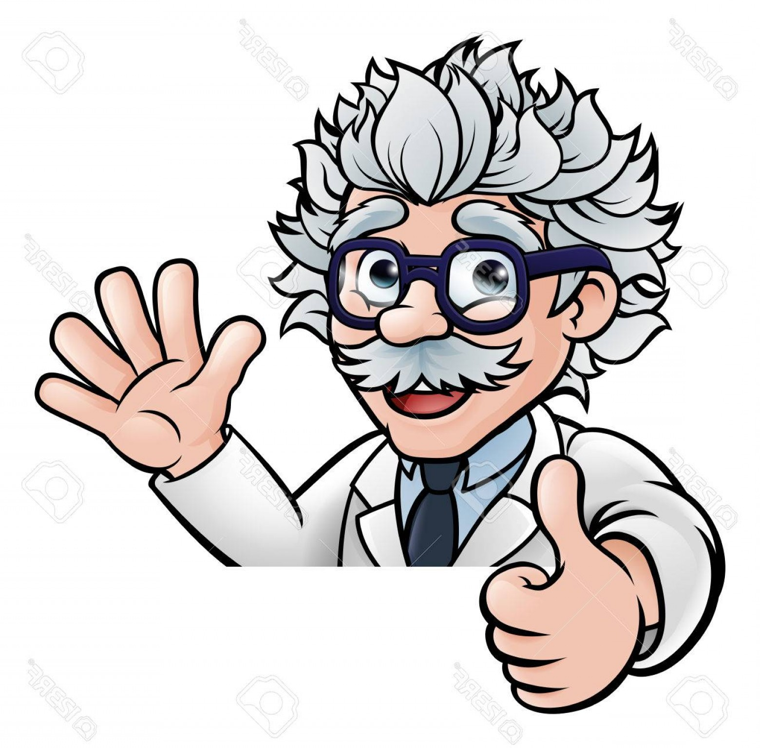 Lab Coat Cartoon Vector: Photostock Vector A Cartoon Scientist Professor Wearing Lab White Coat Waving Above Sign And Giving A Thumbs Up
