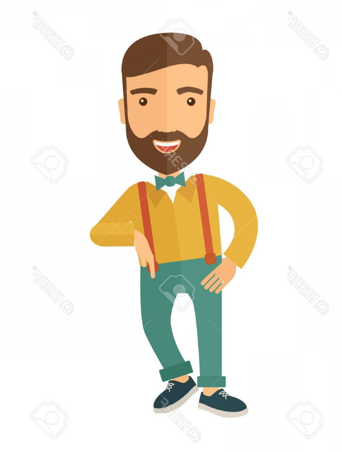 Handsome Man Vector Outline: Photostock Vector A Confident Handsome Man Standing A Contemporary Style Vector Flat Design Illustration With Isolated
