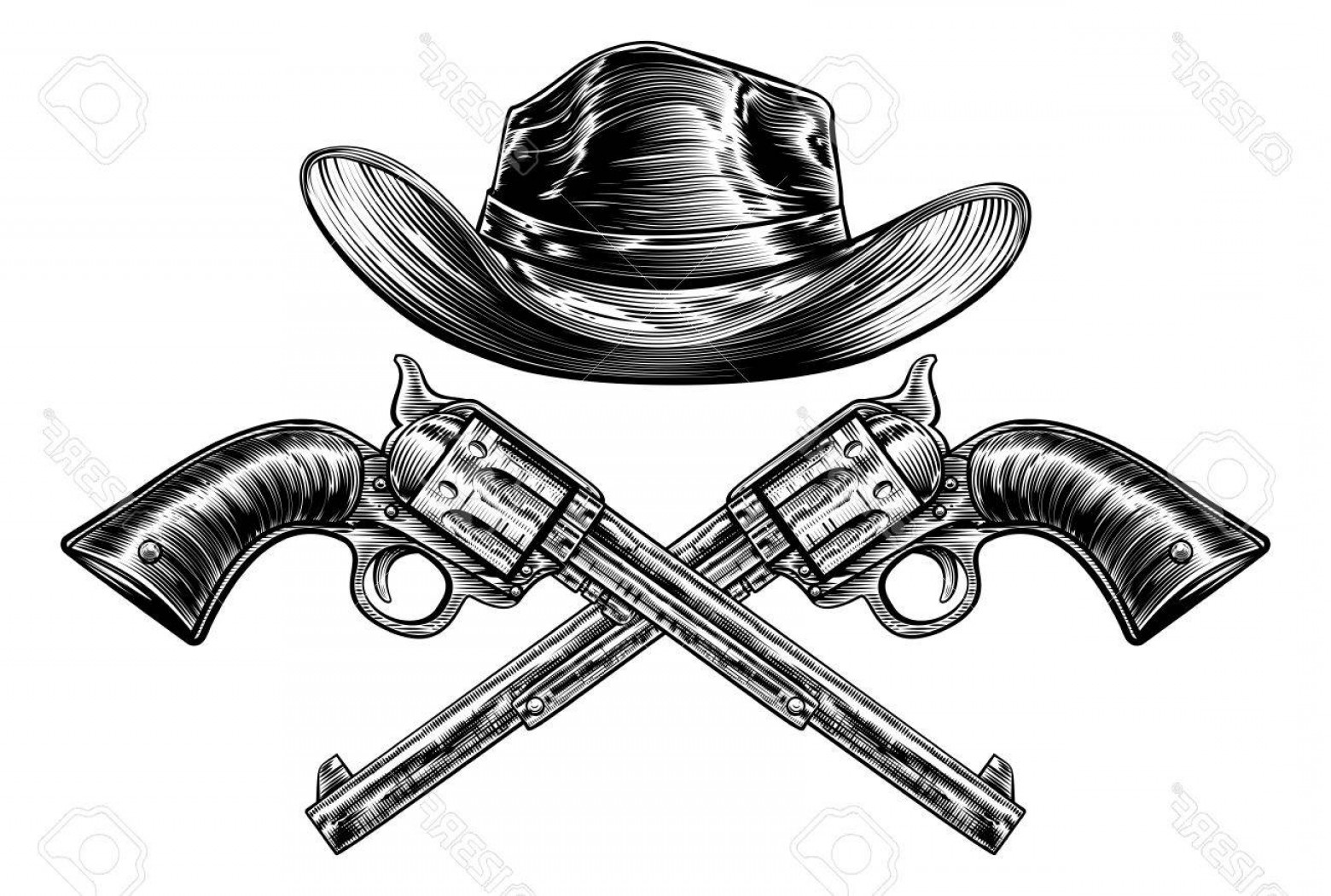 Vintage Crossed Pistols Vector: Photostock Vector A Cowboy Western Hat And Pair Of Crossed Pistol Guns In A Vintage Etched Engraved Style