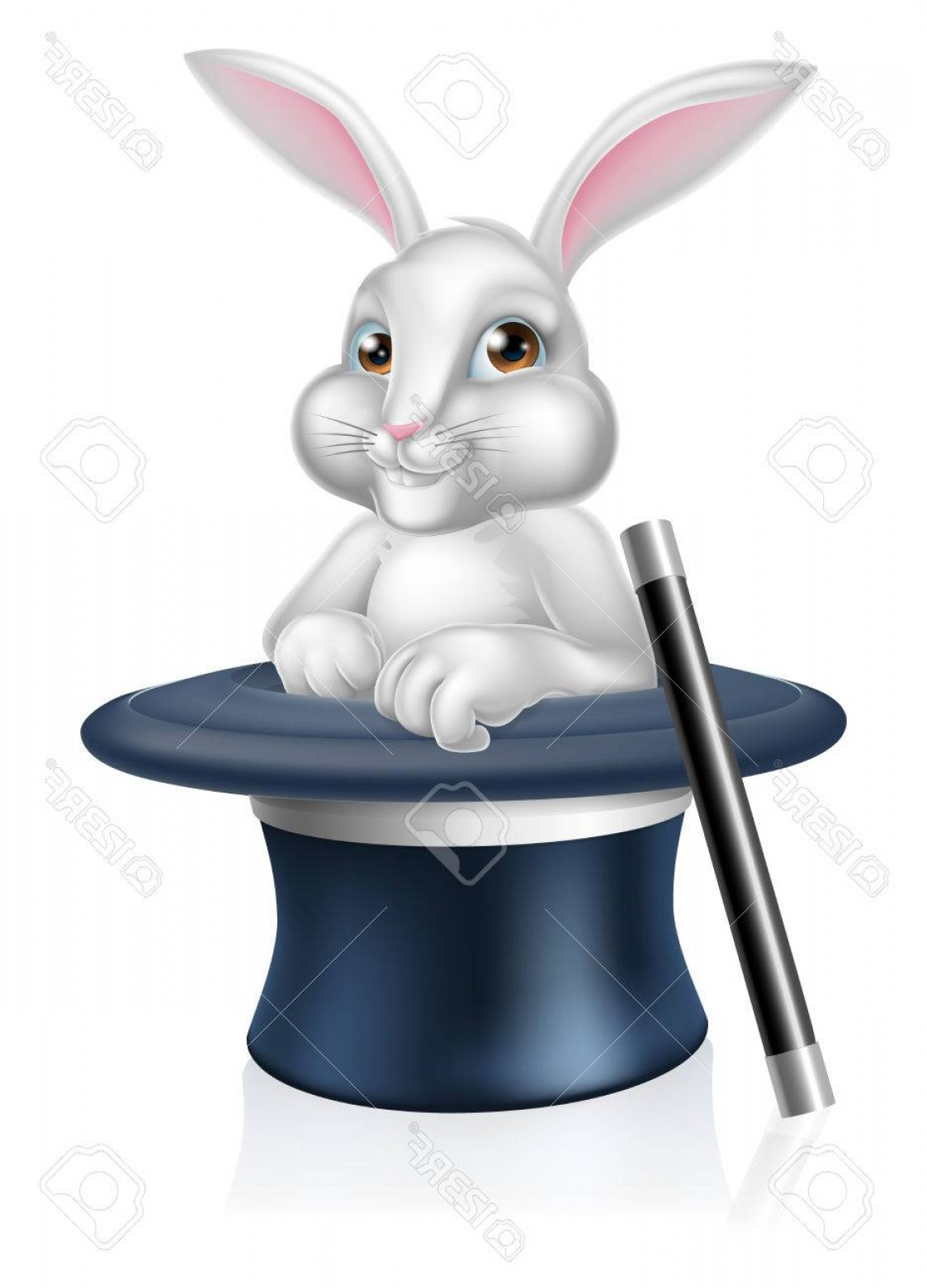 Animated Bunny Face Vector: Photostock Vector A Cute Cartoon Magicians Bunny Rabbit Coming Out Of A Top Hat With A Magic Wand