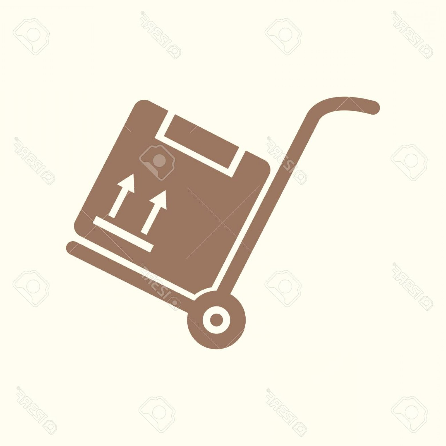 Hand Cart Silhouette Vectors: Photostock Vector A Flat Art Of Hand Truck And Box Sign Symbol On Silhouette Illustration