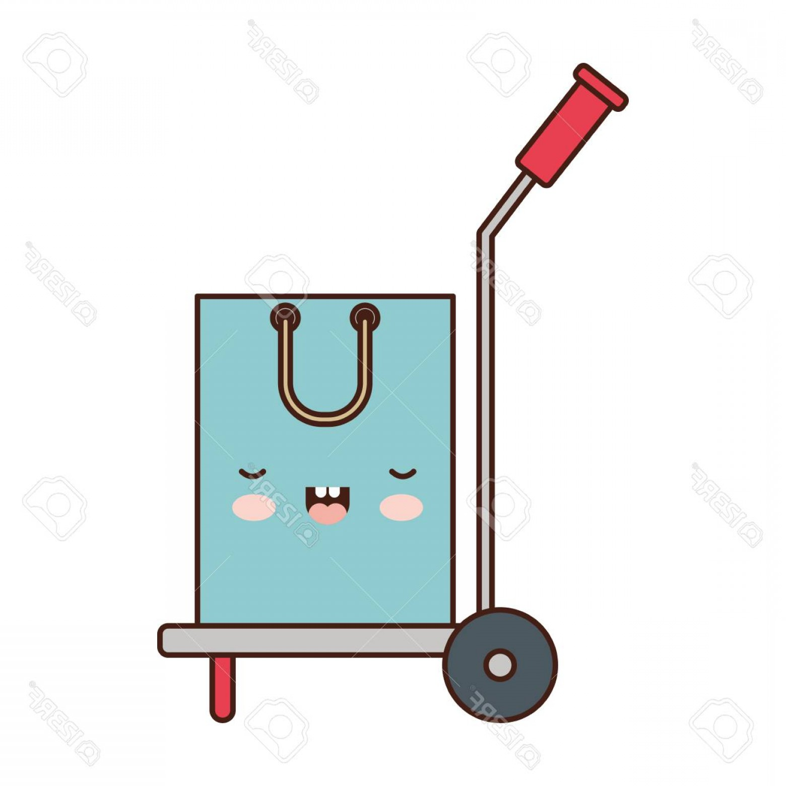 Hand Cart Silhouette Vectors: Photostock Vector A Hand Truck With Shopping Bag In Colorful Silhouette Vector Illustration