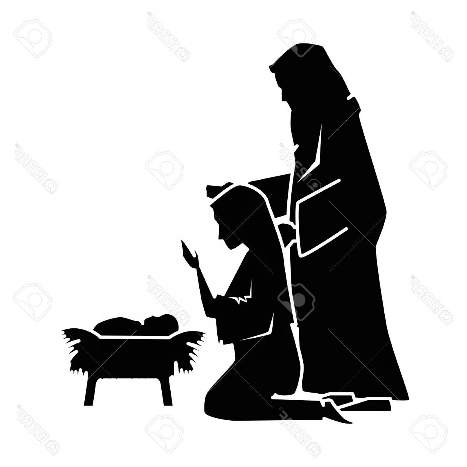 Family Silhouette Vector Art: Photostock Vector A Holy Family Silhouette Christmas Characters Vector Illustration Design