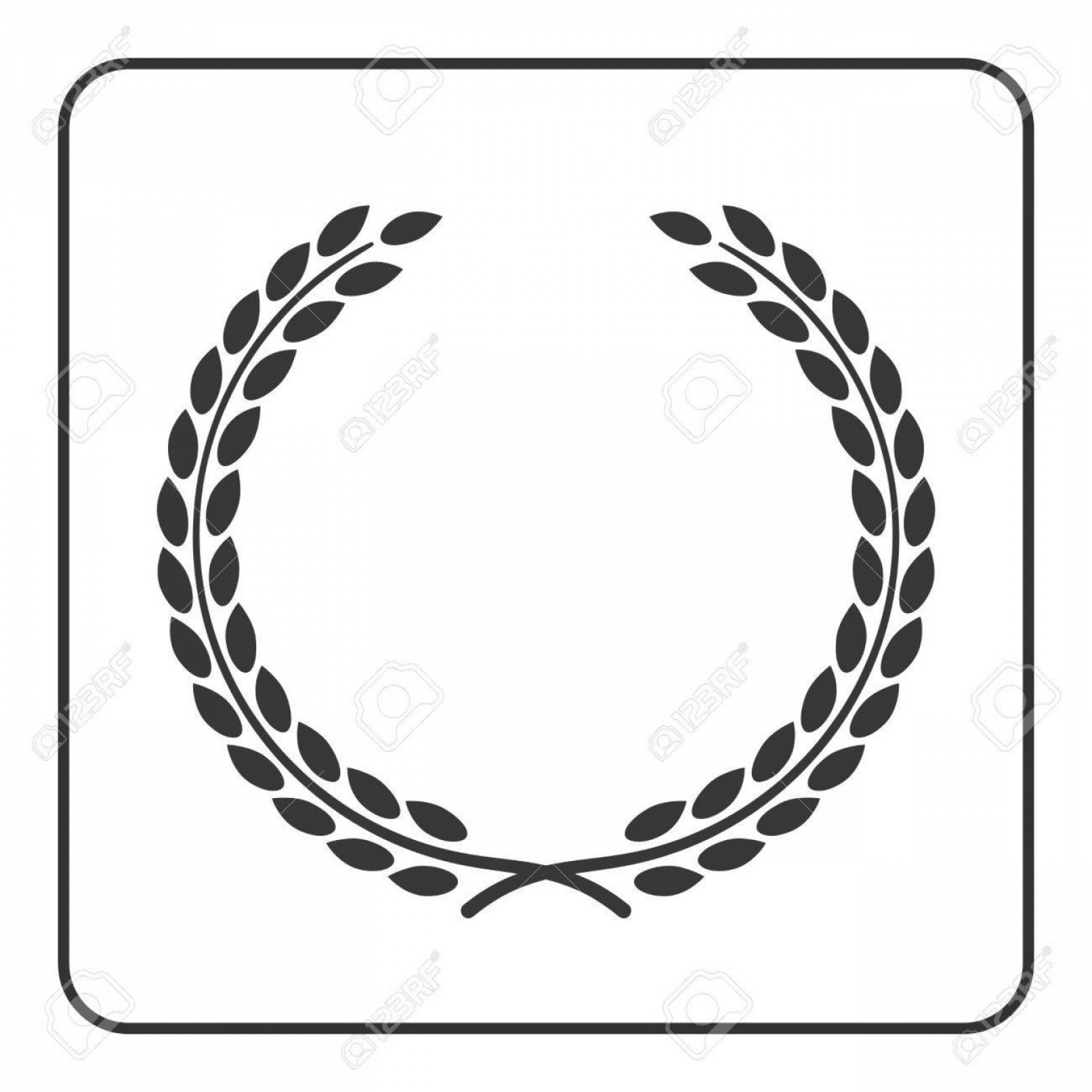 Wheat Wreath Vector Art: Photostock Vector A Laurel Or Wheat Wreath Icon Symbol Victory Achievement And Grain Natural Food Design Element For M
