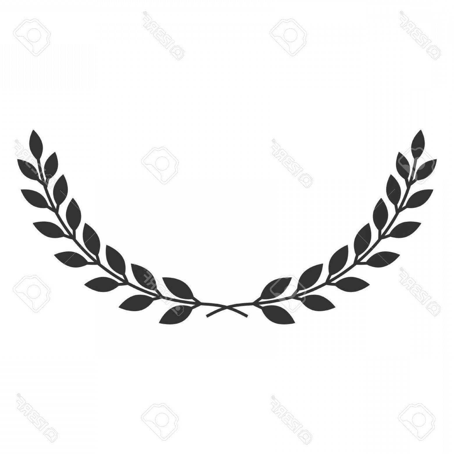 Half Leaf Wreath Vector: Photostock Vector A Laurel Wreath Icon Symbol Of Victory And Achievement Vintage Design Element For Medals Awards Coat