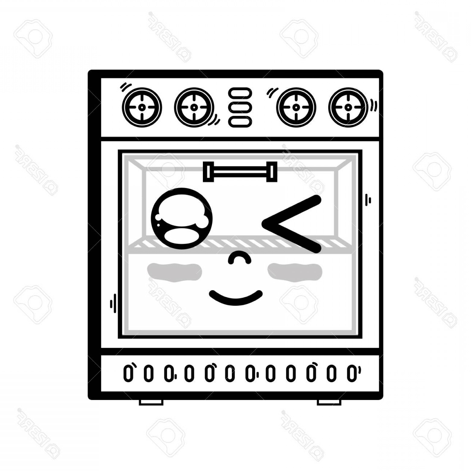 Happy Oven Vector: Photostock Vector A Line Cute Happy Oven Technology