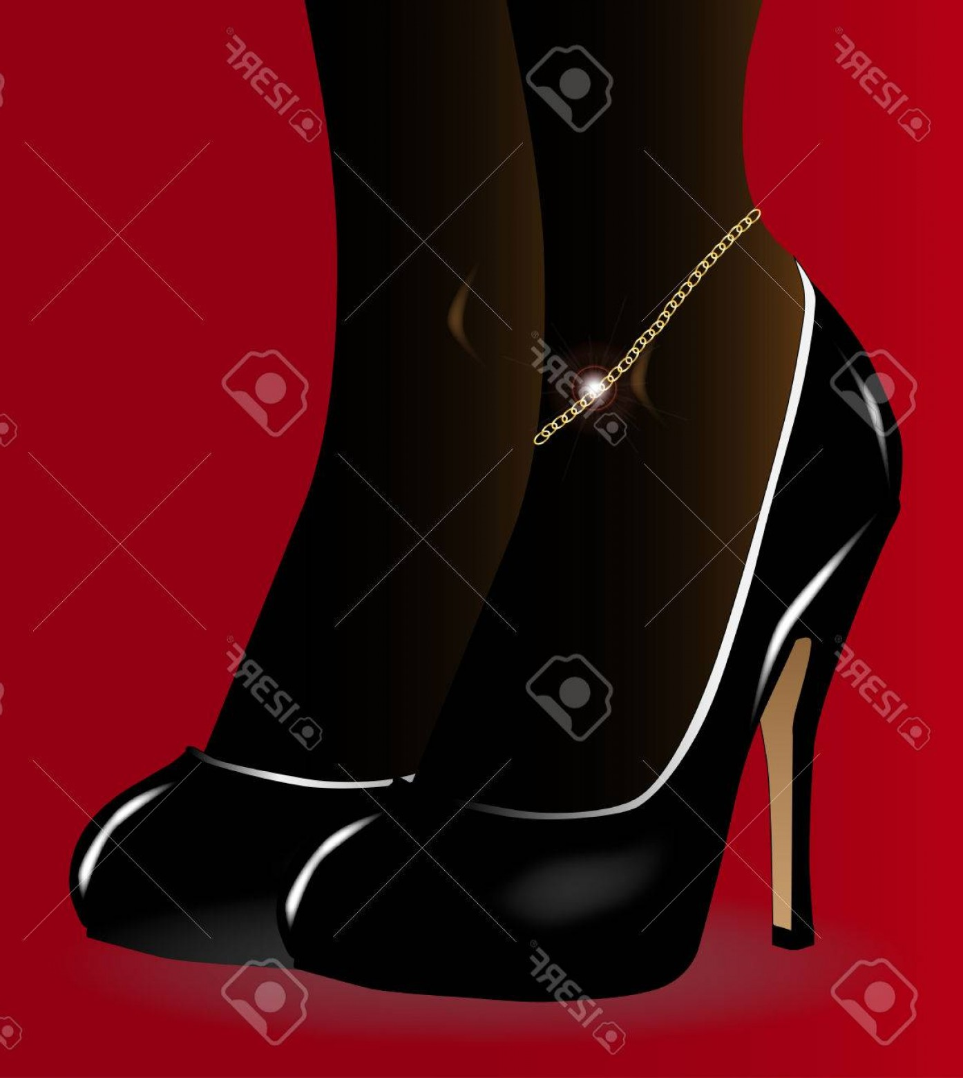 Silhouette Hee High Vector Lsitleetios: Photostock Vector A Pair Of Black Stiletto Heel Shoes With A Ladies Gold Ankle Bracelet