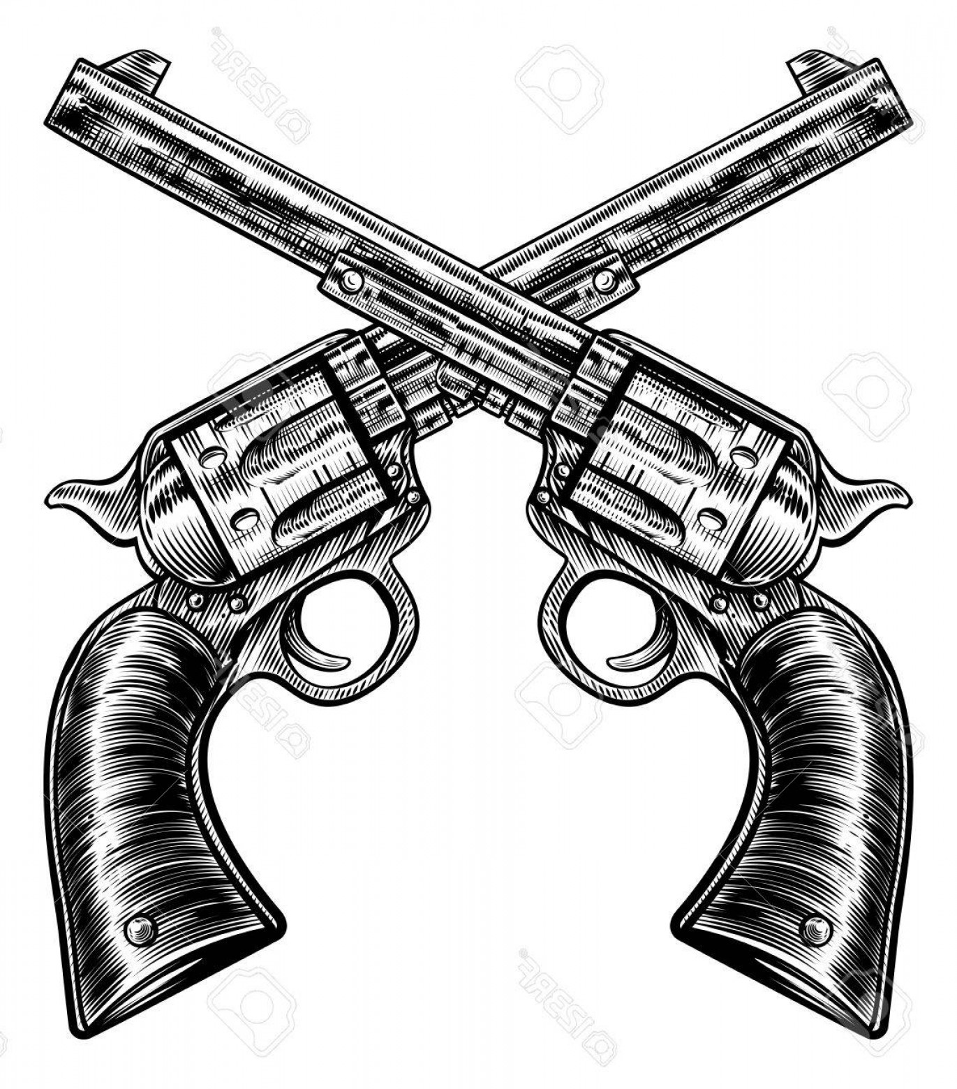 Vintage Crossed Pistols Vector: Photostock Vector A Pair Of Crossed Gun Revolver Handgun Six Shooter Pistols Drawn In A Vintage Retro Woodcut Etched O
