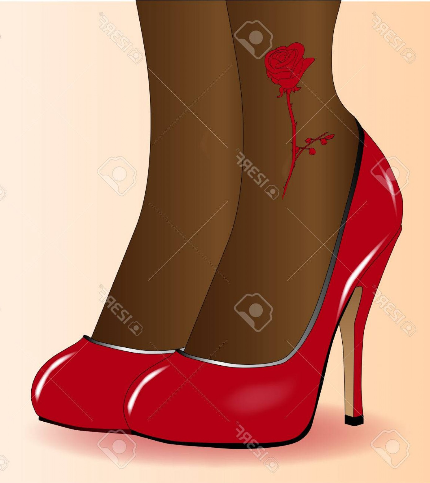 Silhouette Hee High Vector Lsitleetios: Photostock Vector A Pair Of Ladies Legs With A Red Rose Tattoo In Stiletto Heel Shoes