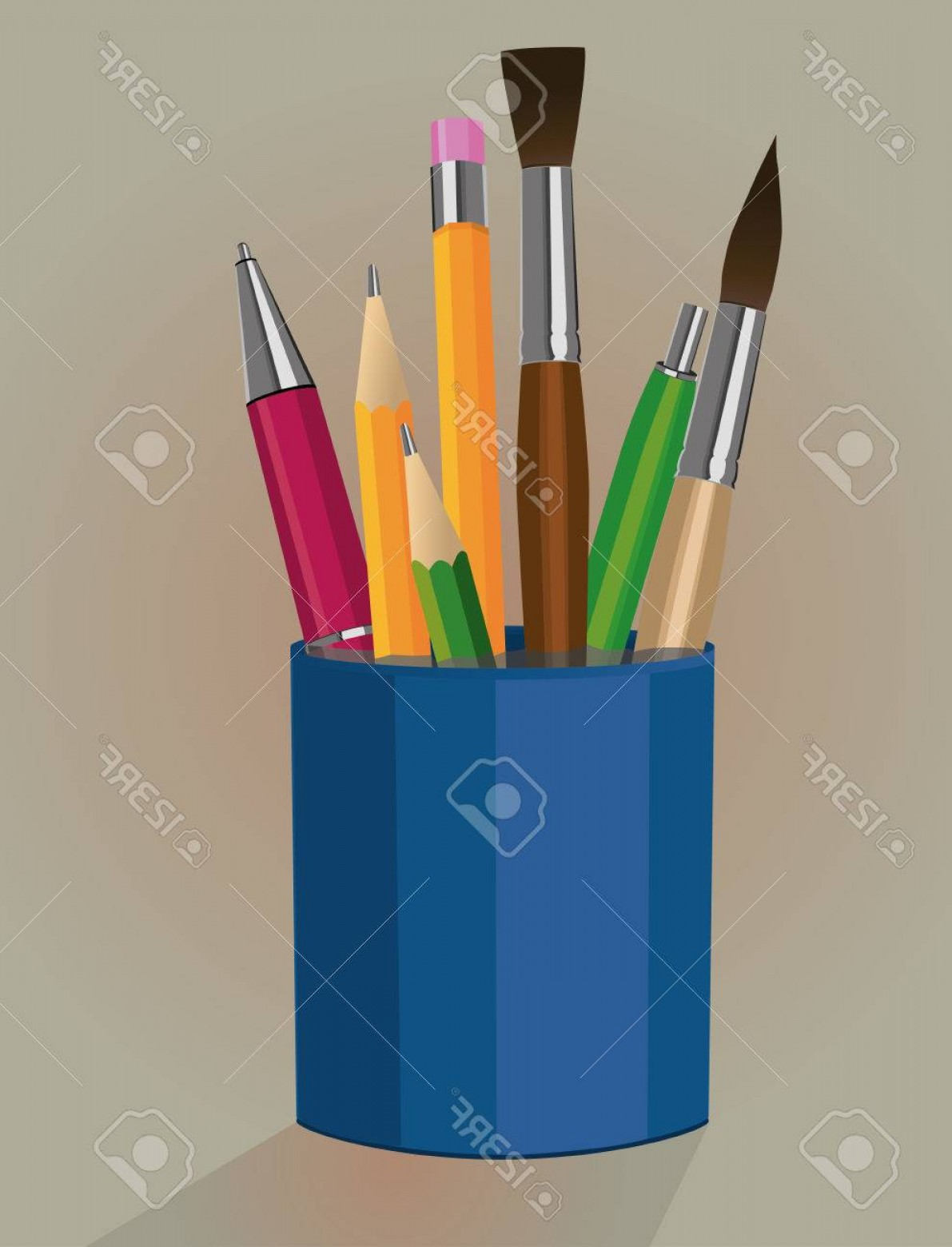 Vector Pencil Holder: Photostock Vector A Pen Holder With Pencils Pens And Paintbrushes