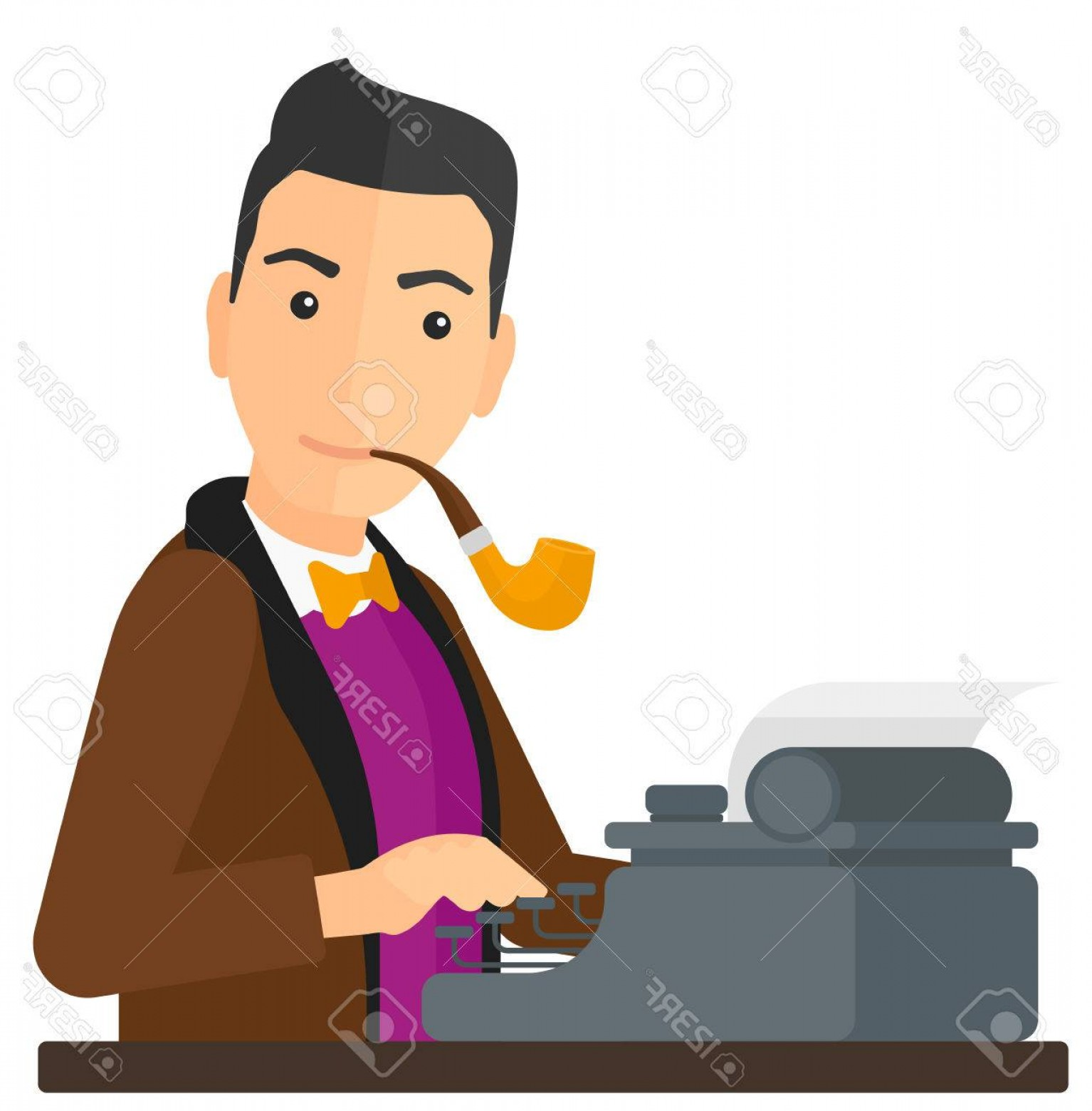 Ways To Write Vector BA: Photostock Vector A Reporter Writing An Article On His Typewriter Vector Flat Design Illustration Isolated On White Ba