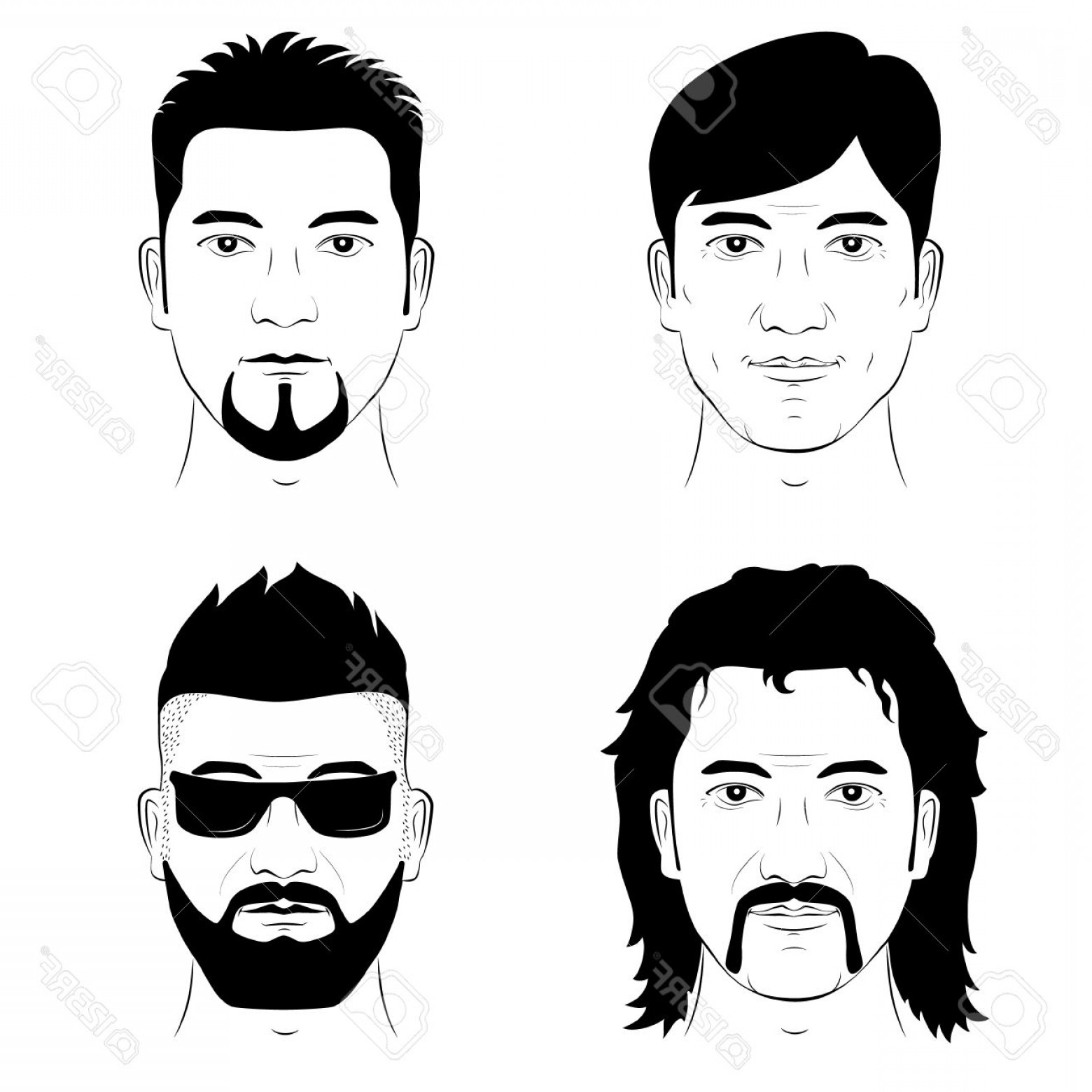 Mustache Face Vector: Photostock Vector A Set Of Drawing Human Faces With Different Hairstyles Mustache And Beard Vector Man Portrait