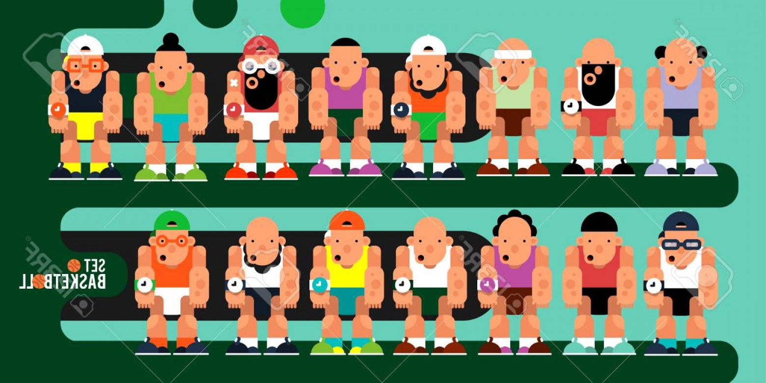 Motion Basketball Vector: Photostock Vector A Set Of Game Characters Team Cartoon Basketball Players For Motion Design Vector Illustration In Fl