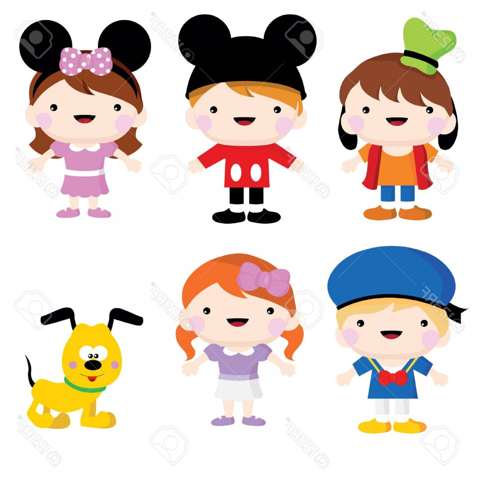 Mickey Vector: Photostock Vector A Set Of Mickey Mouse Children Costume And Party