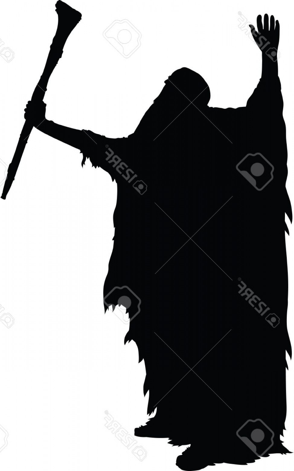 Wizard Silhouette Vector: Photostock Vector A Silhouette Of An Old Wizard Raising His Arms And Using His Power