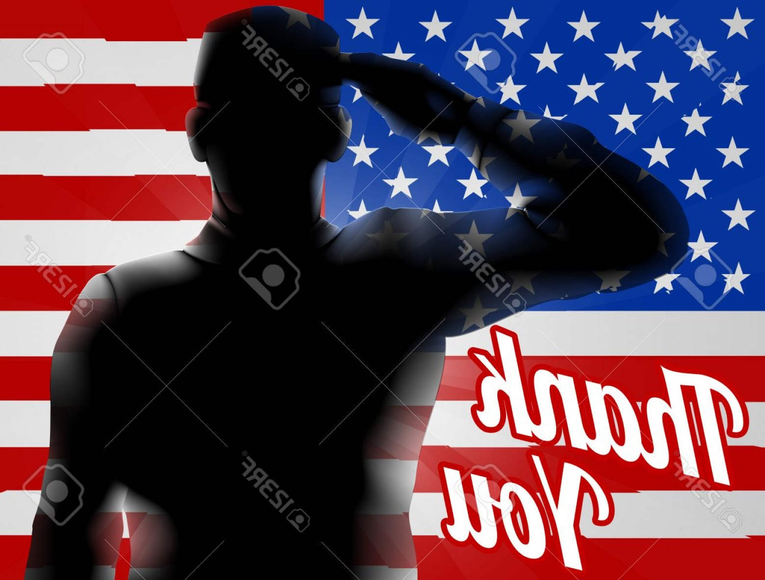 Coca-Cola Vector Silhouette: Photostock Vector A Silhouette Soldier Saluting With American Flag In The Background With Thank You Design For Memoria