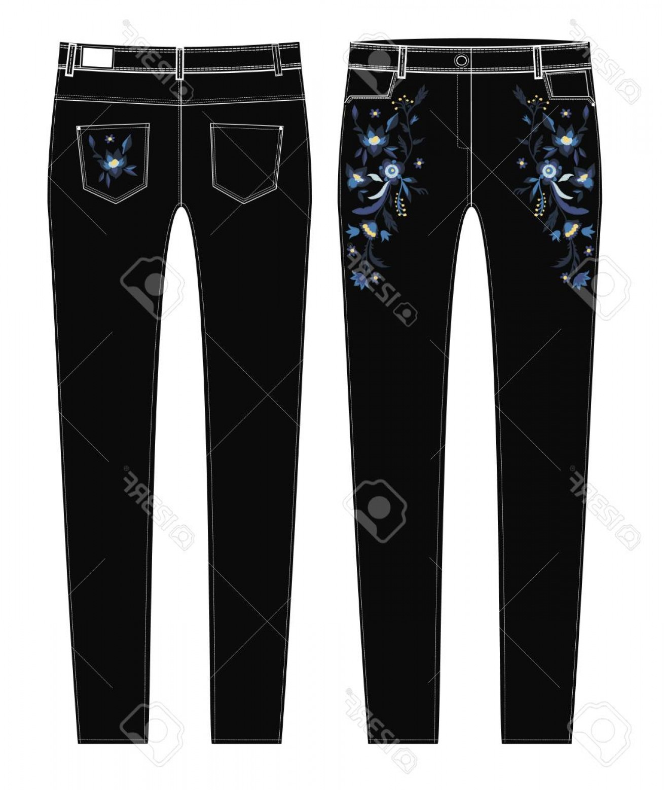Vector Black Jeans: Photostock Vector A Sketch Of Front And Back Parts Of Black Jeans With Floral Embroidery
