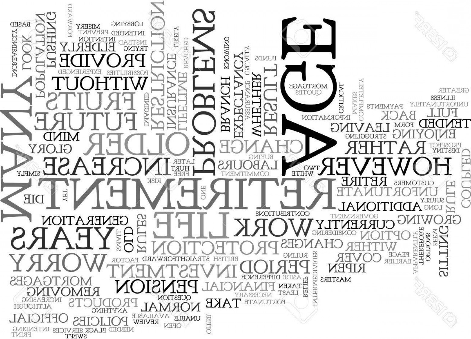Vector Straightforward: Photostock Vector A Stake In The Future For Older People Text Word Cloud Concept