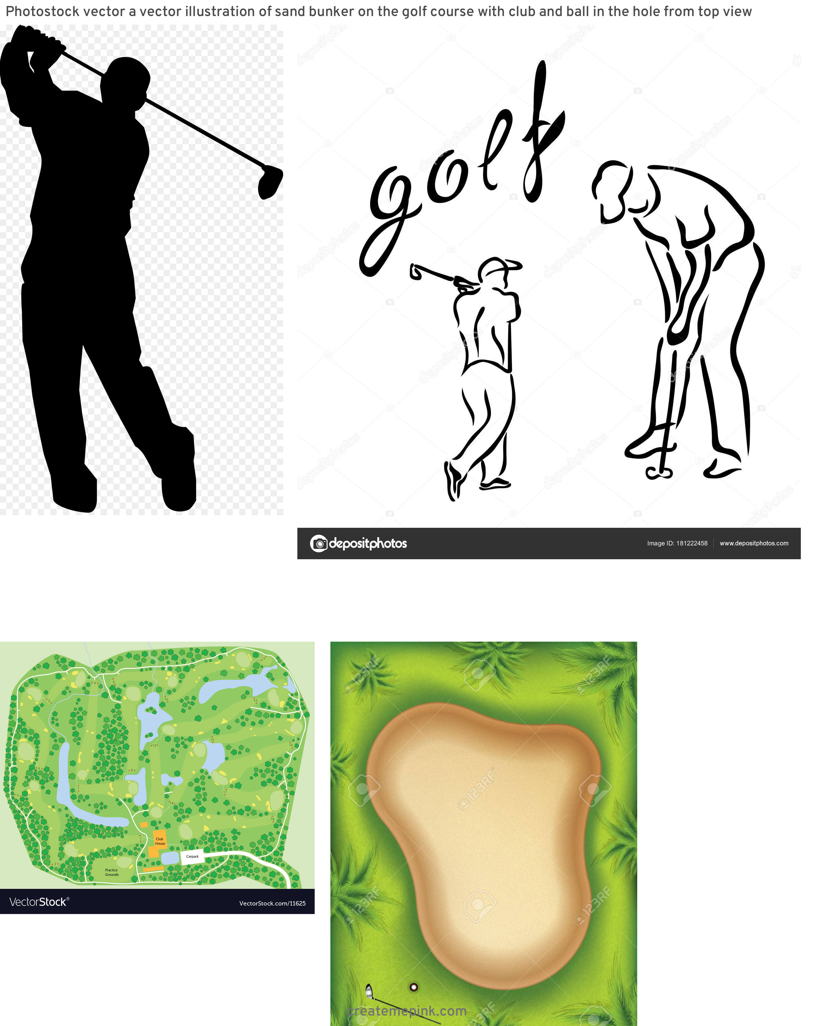 Golf Course Vector Art: Photostock Vector A Vector Illustration Of Sand Bunker On The Golf Course With Club And Ball In The Hole From Top View