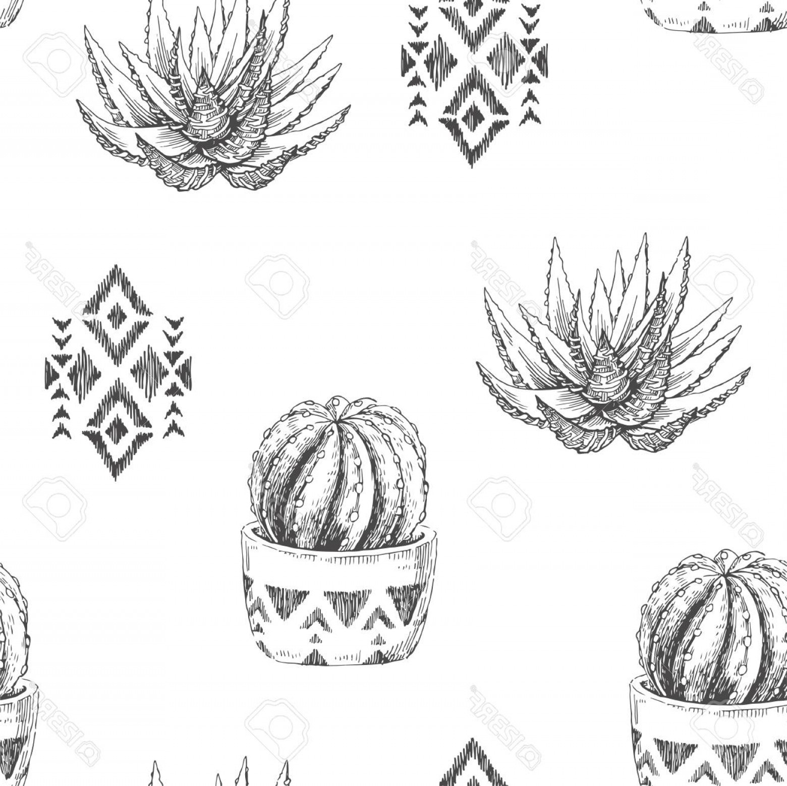 Aztec Cactus Vector: Photostock Vector A Vector Seamless Pattern With Houseplants And Aztec Ornaments Vintage Illustration With Cactus And