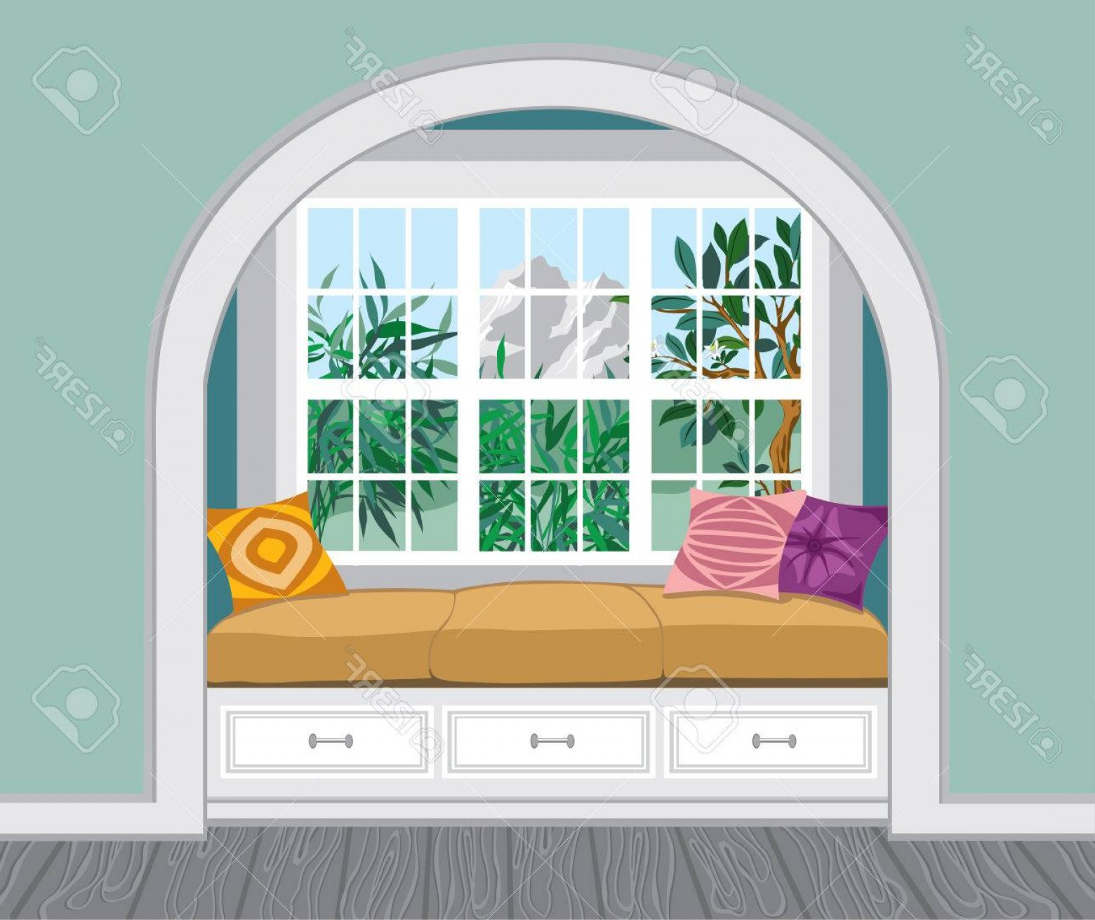 Amazing Window Vector: Photostock Vector A Window Seat With Padded Seat Storage Below The Amazing Mountains View Light Interior In A Classic