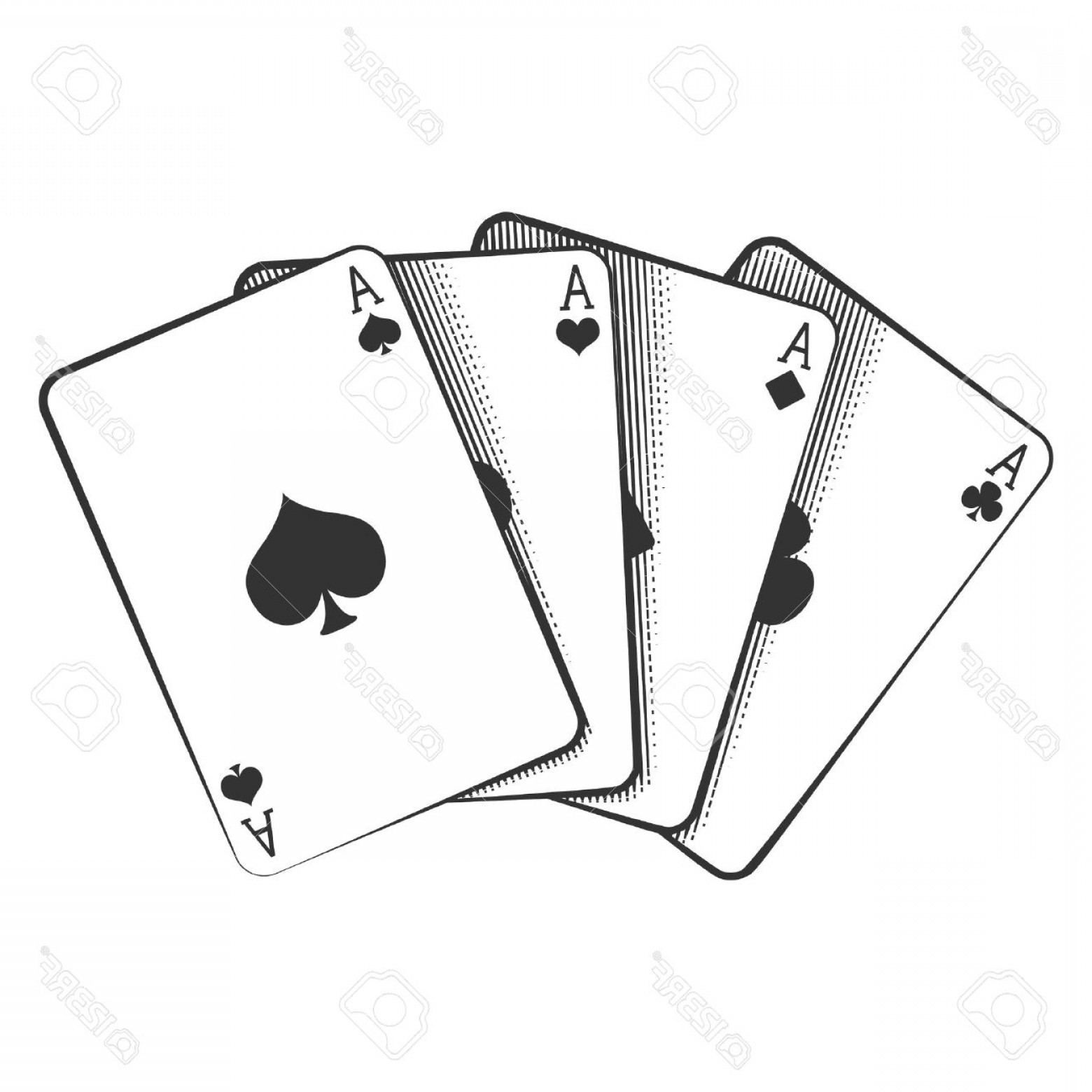 Poker Hand Vector: Photostock Vector A Winning Poker Hand Of Four Aces Playing Cards Suits On White
