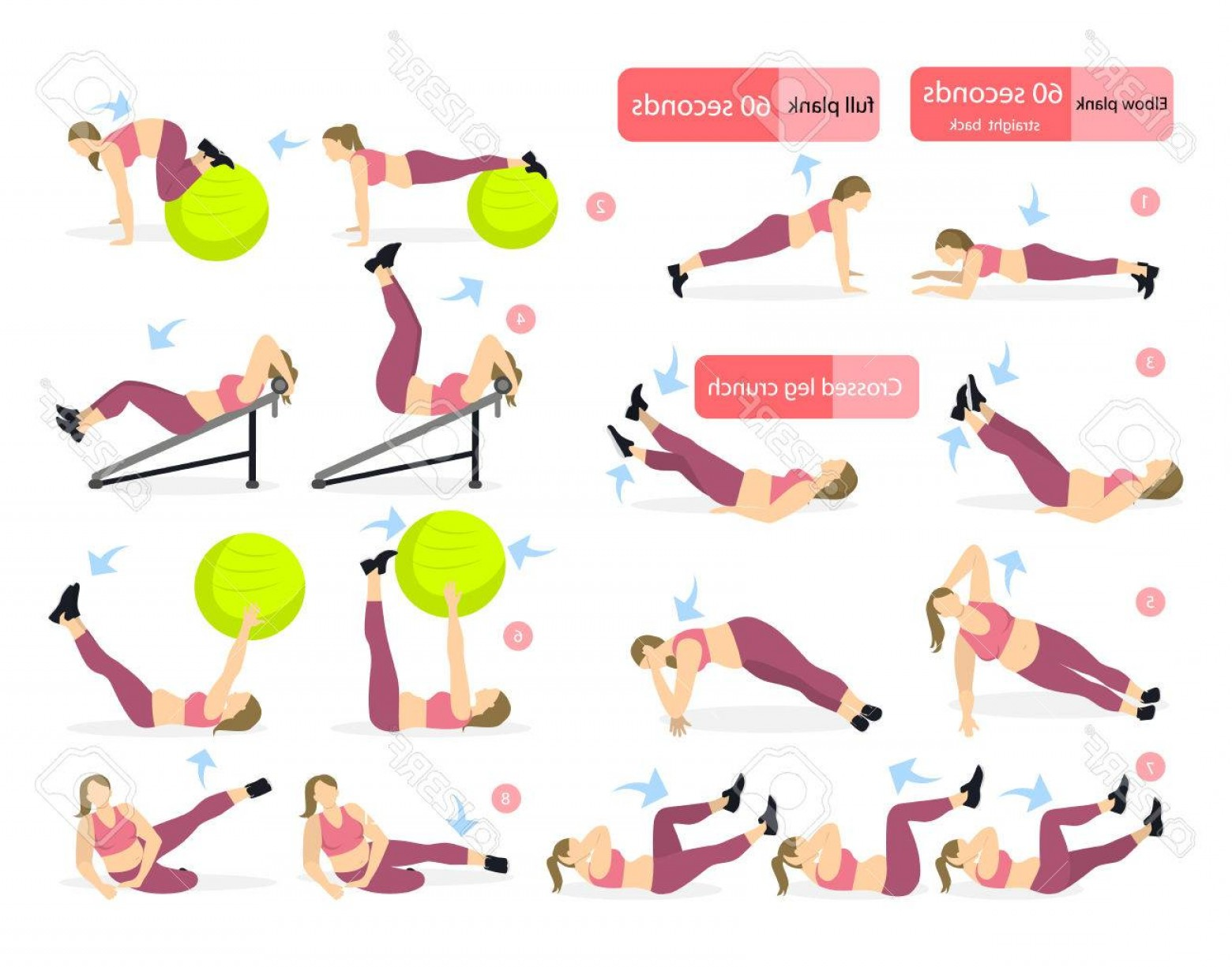 Pack 6 Vectorabs: Photostock Vector Abs Exercises Set For Fat Girl On White Background All Fitness Workout Including Crunches Fit Ball B