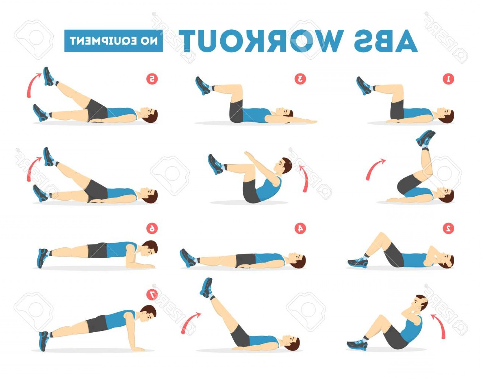 Pack 6 Vectorabs: Photostock Vector Abs Workout For Men Exercise For Perfect Body